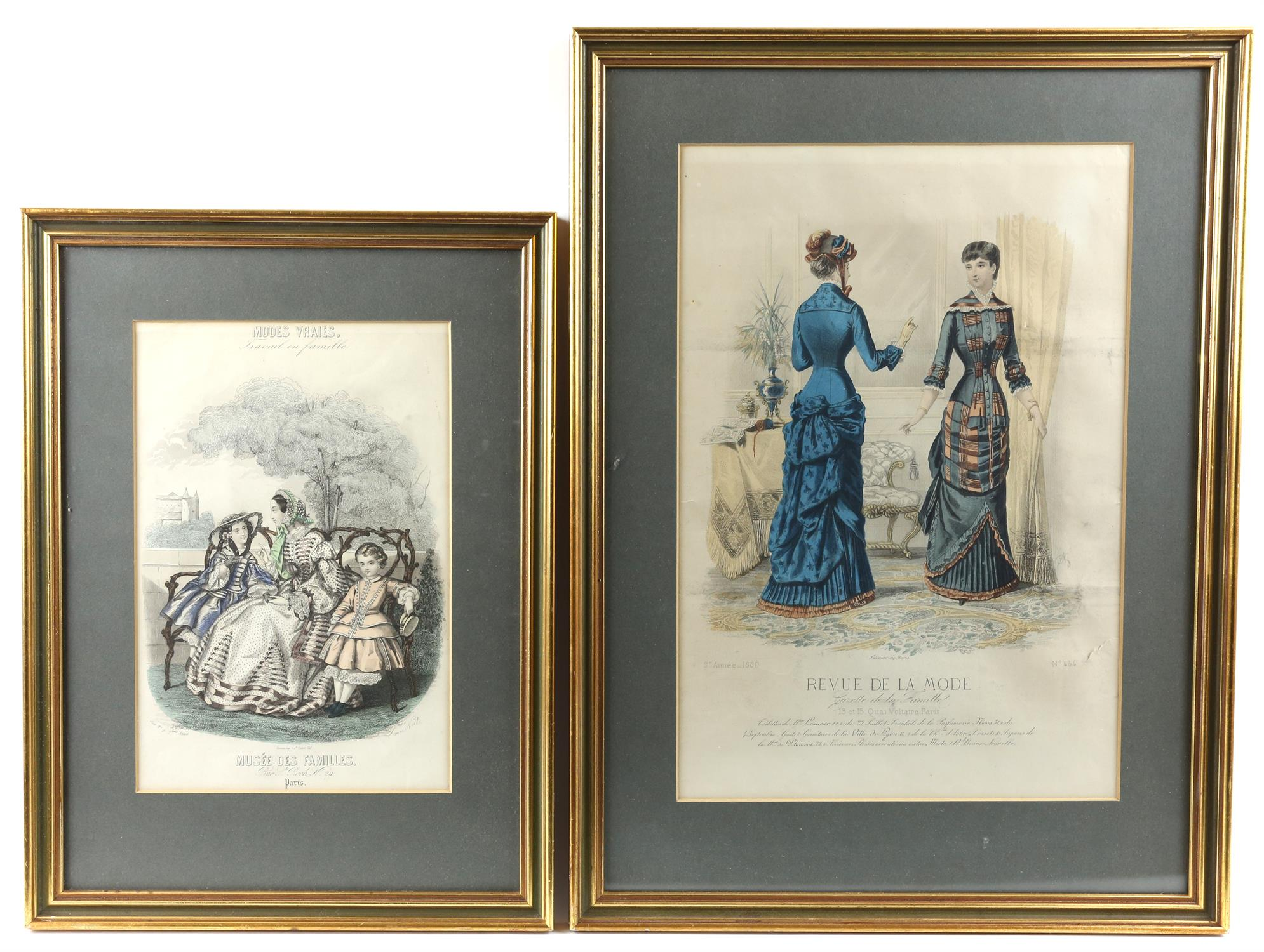 Collection of nineteenth-century French hand-coloured fashion prints, including 'Revue de la mode',