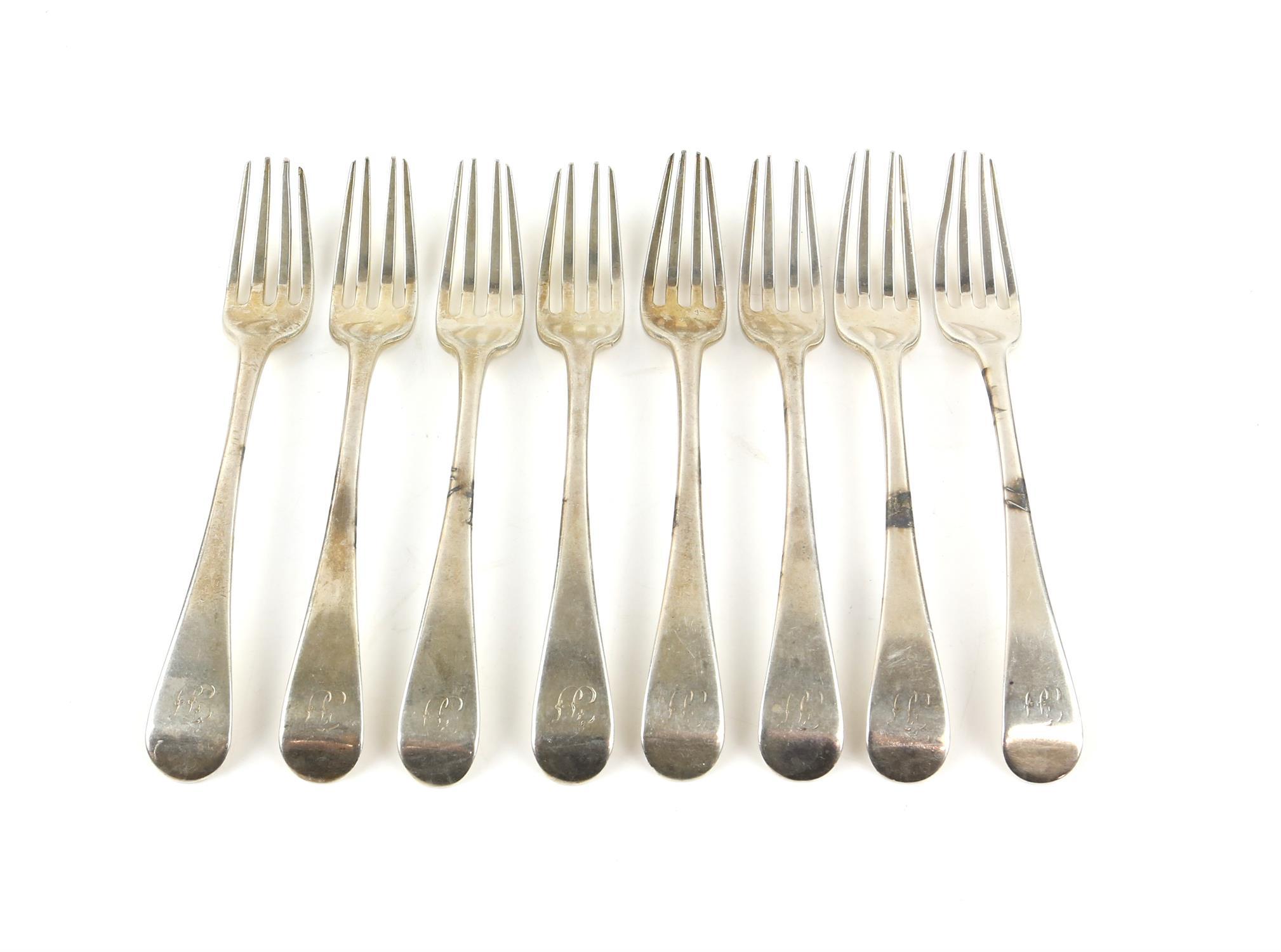 Set of 8 George III old English pattern dessert forks London 1795 Makers Mark HS, 10 ozs