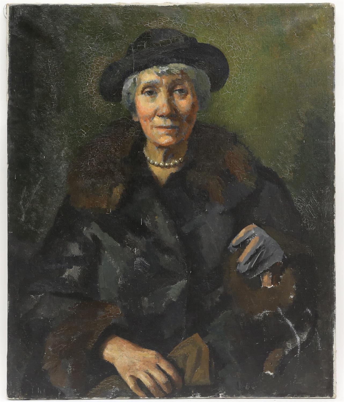 § Lionel Ellis. (1903-1988) Portrait of a Woman in Black. Oil on canvas, unsigned. 76 x 64cm.