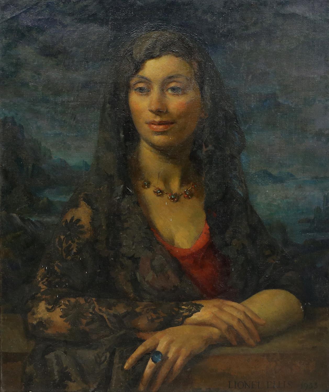 § Lionel Ellis (1903-1988),. 'Summer', Portrait of Woman with Lace Mantilla. Oil on canvas 1933,