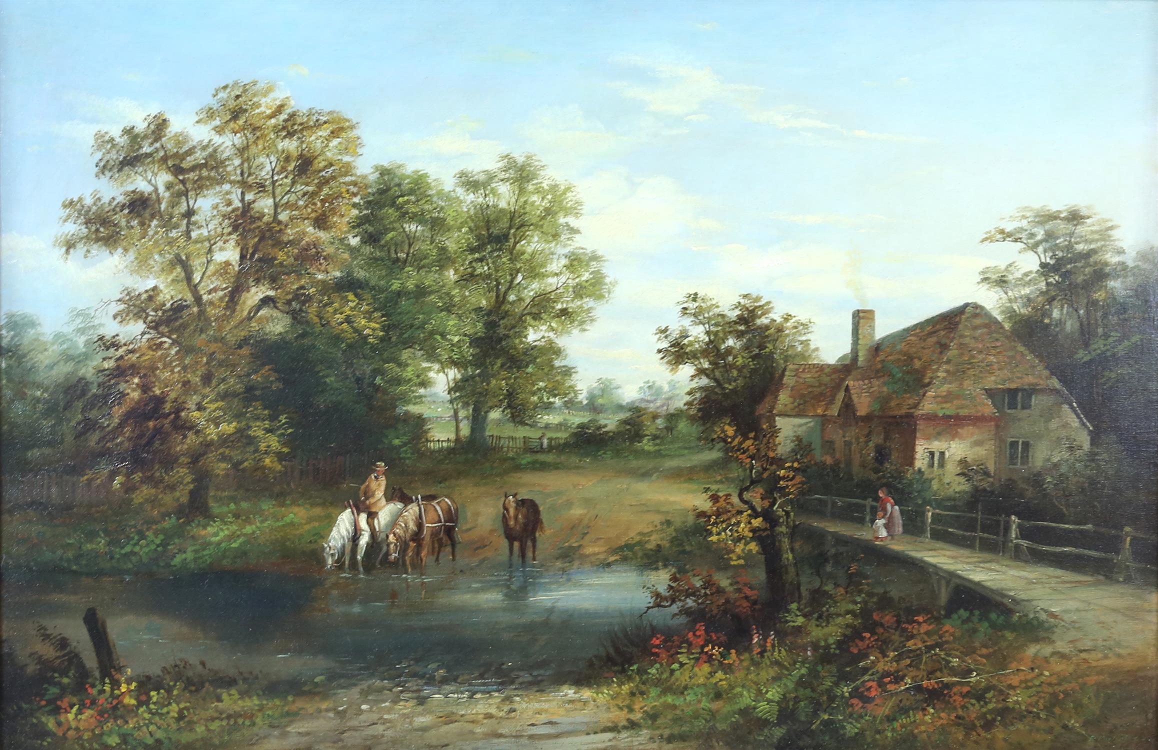 Ellen Partridge, British act. c. 1844 - c.1894, watering horses at a ford, signed, oil on canvas,