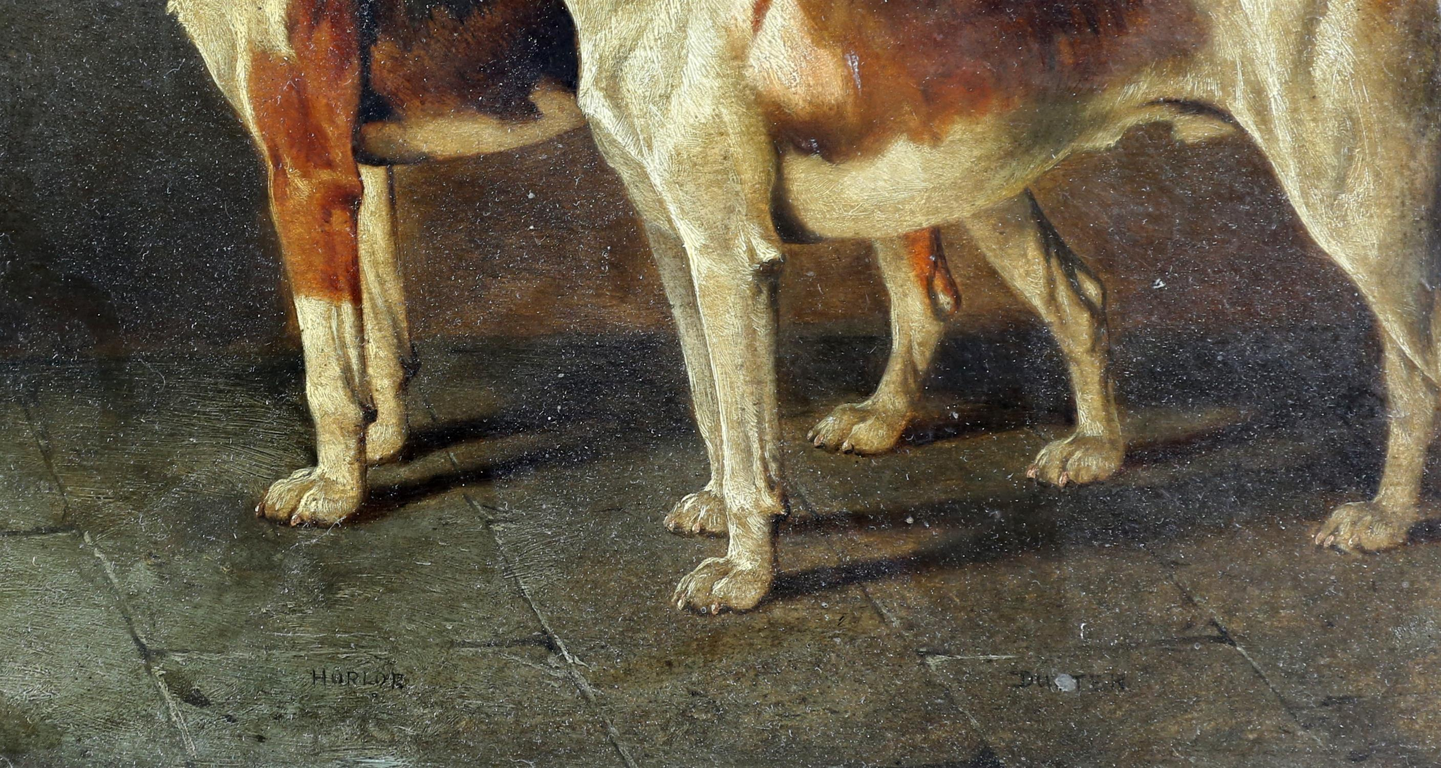 A Wheeler (19th century British), Two hounds, oil on board, signed and dated 1896 lower left, - Image 4 of 5