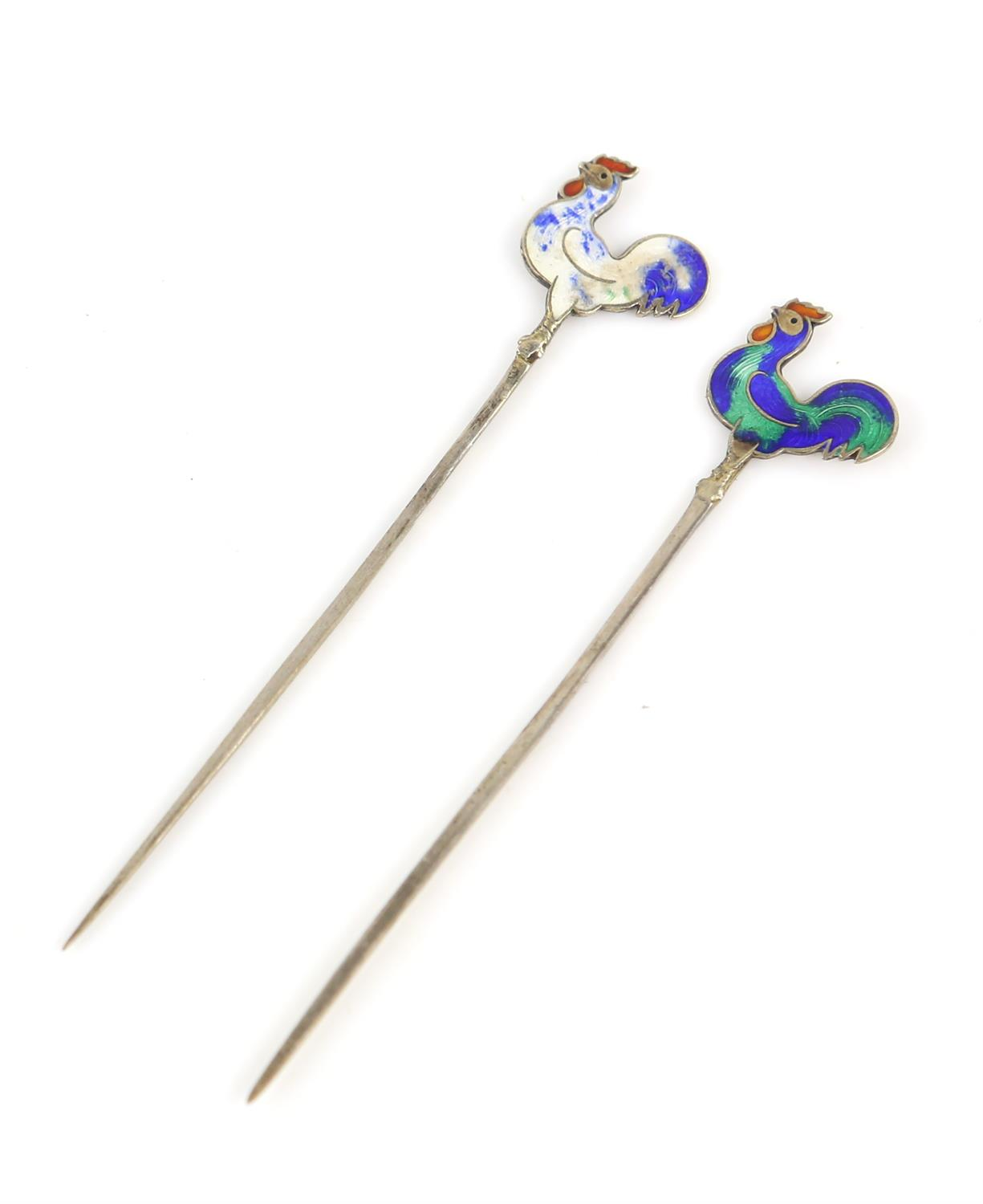 Cased set of silver and enamel cockerel cocktail sticks, each bird with individual enamel - Image 3 of 6
