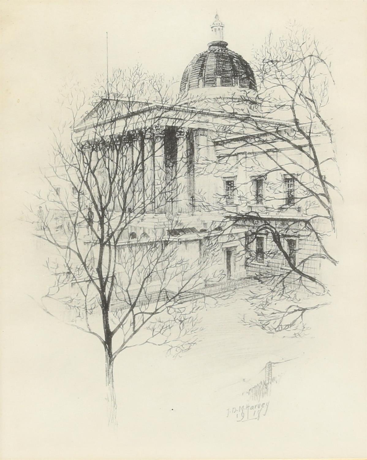 John Dean Monroe Harvey (1895-1978). Pair of Architectural Studies, possibly St Pauls. - Image 2 of 5