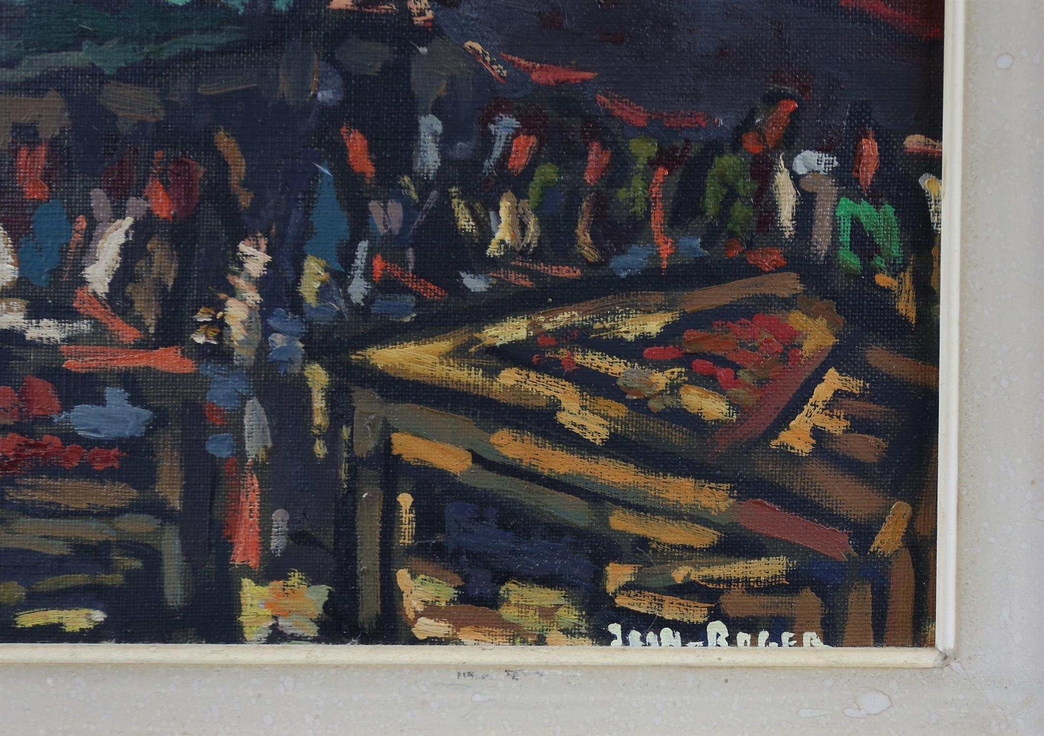 Jean-Roger (European, 1924-2015), continental market scene. Oil on canvas. Signed lower right. - Image 4 of 4
