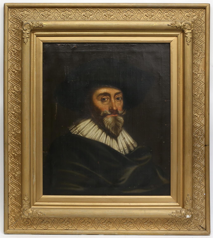 18th century English school, Portrait of a 17th century gentleman, oil on canvas, - Image 2 of 3