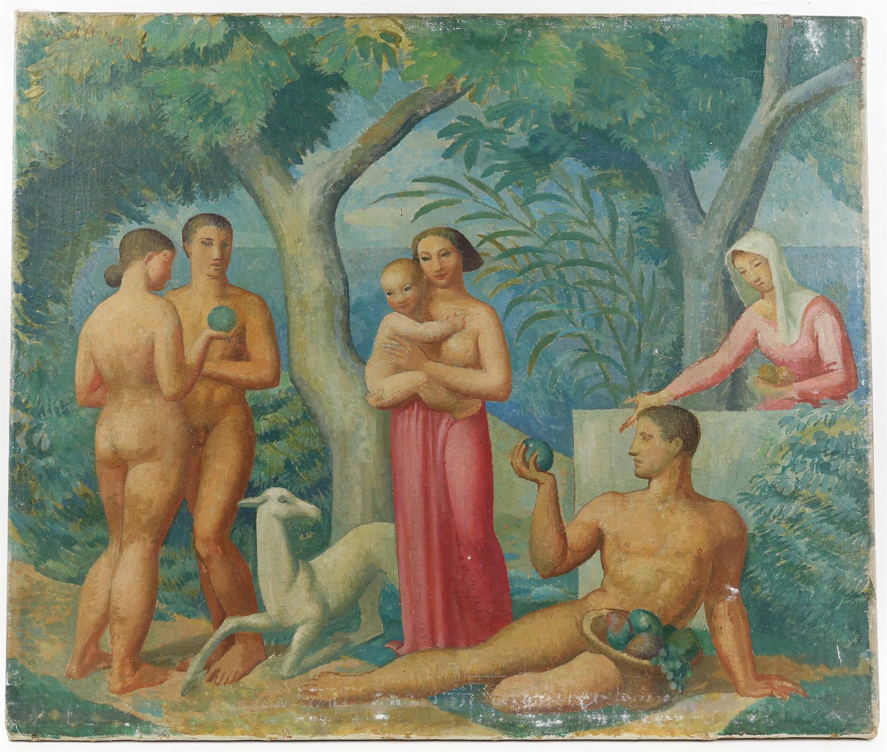 § Lionel Ellis (1903-1988). Classical Figures in a Tropical Garden. Oil on canvas. Unsigned.