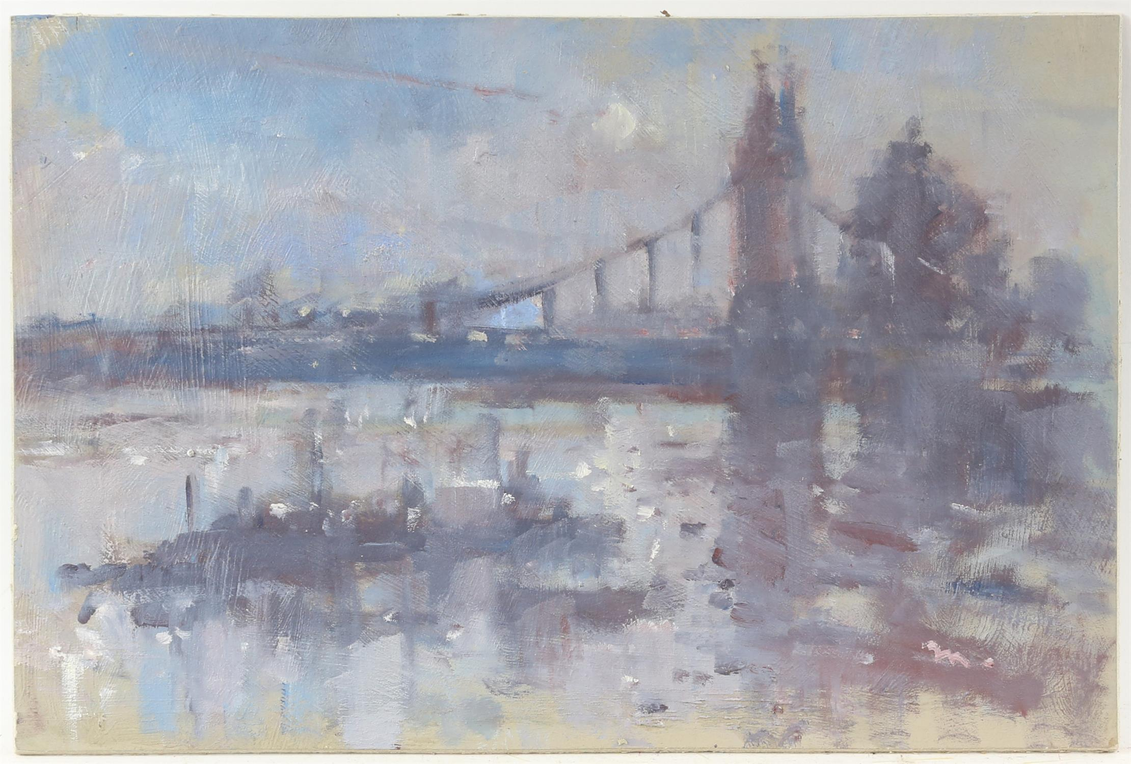 Tony Merrick (British 20th century), 'Twilight, Hammersmith Bridge 2010', inscribed verso,