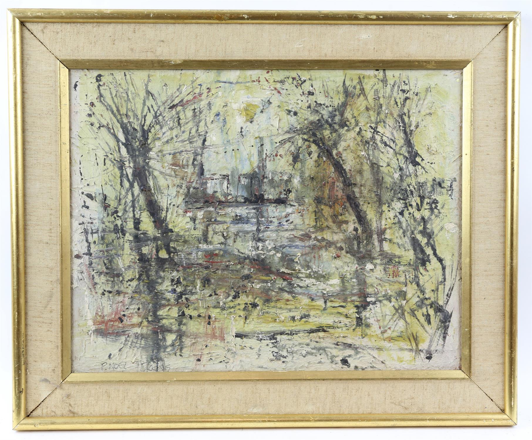 Peter Noel Perkins, abstract landscape. Oil on board. Signed lower left. Framed. Image size 33 x - Image 2 of 7