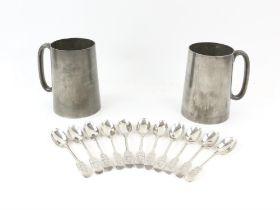 Eleven artists rifles silver tea spoons William Hutton & Sons Ltd, London various dates 1909-1914 6.