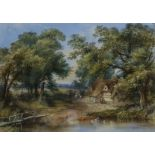 Thomas Colman Dibdin, British 1810-1893, country lane with cottage and figures, signed and dated