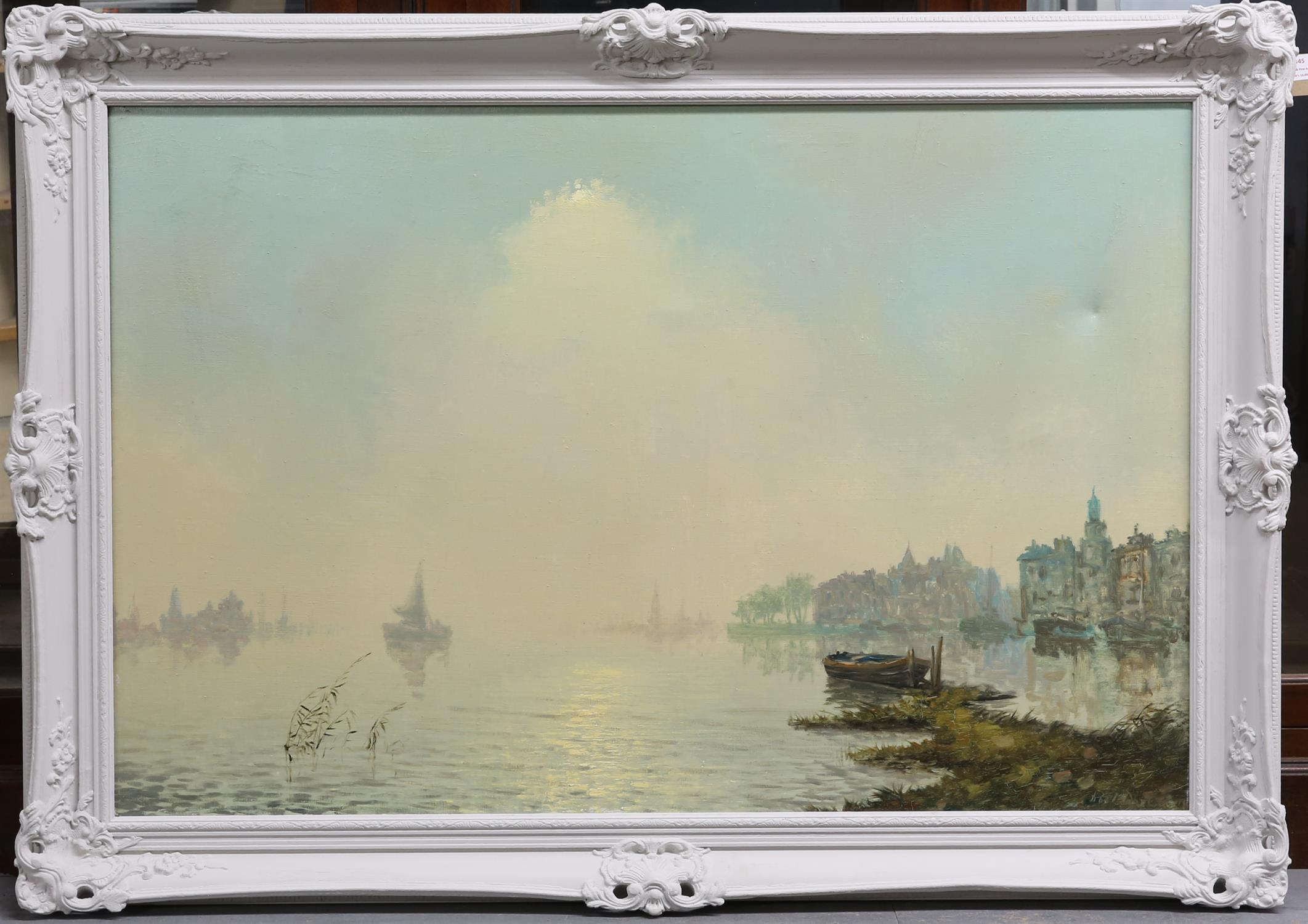 Roel Dozeman (1924-1988). Continental Harbour Scene. Oil on canvas. Signed lower right. 76 x 103cm. - Image 2 of 4
