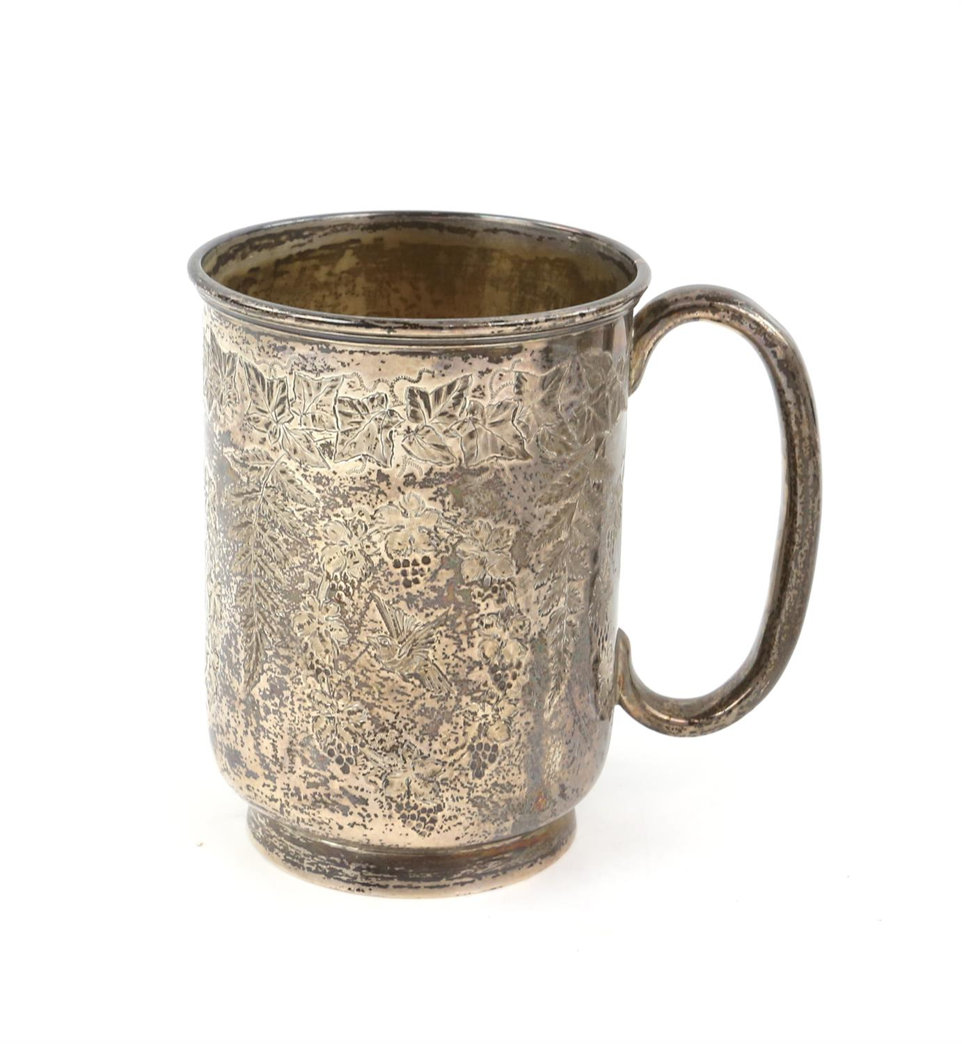 Victorian fern engraved silver mug, a silver sauce boat, a silver small trophy cup 403 grms 13 ozs - Image 6 of 10