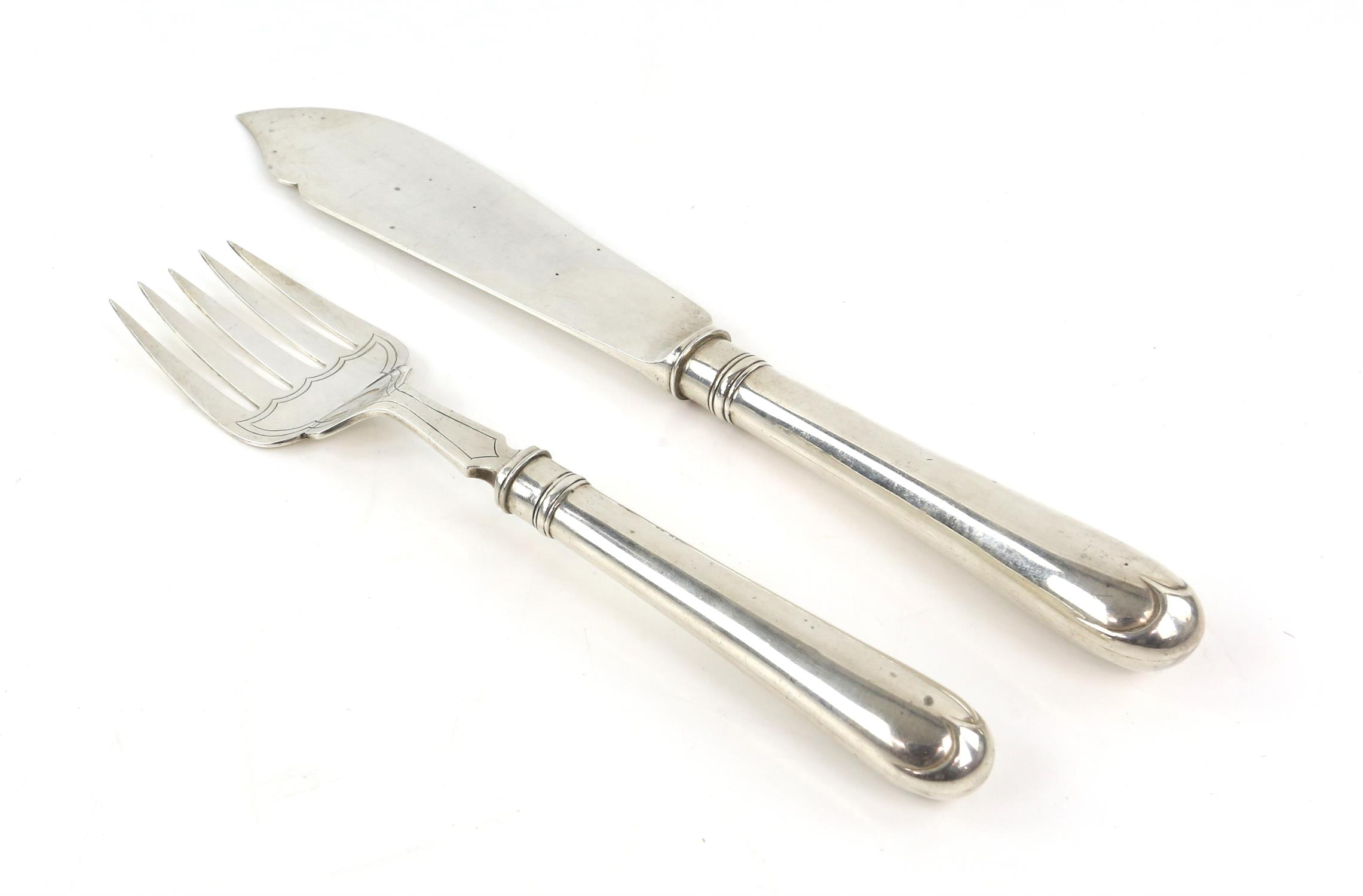 Two silver fish servers, including a knife and fork, Thomas Bradbury & Sons, Sheffield 1928, - Image 2 of 4