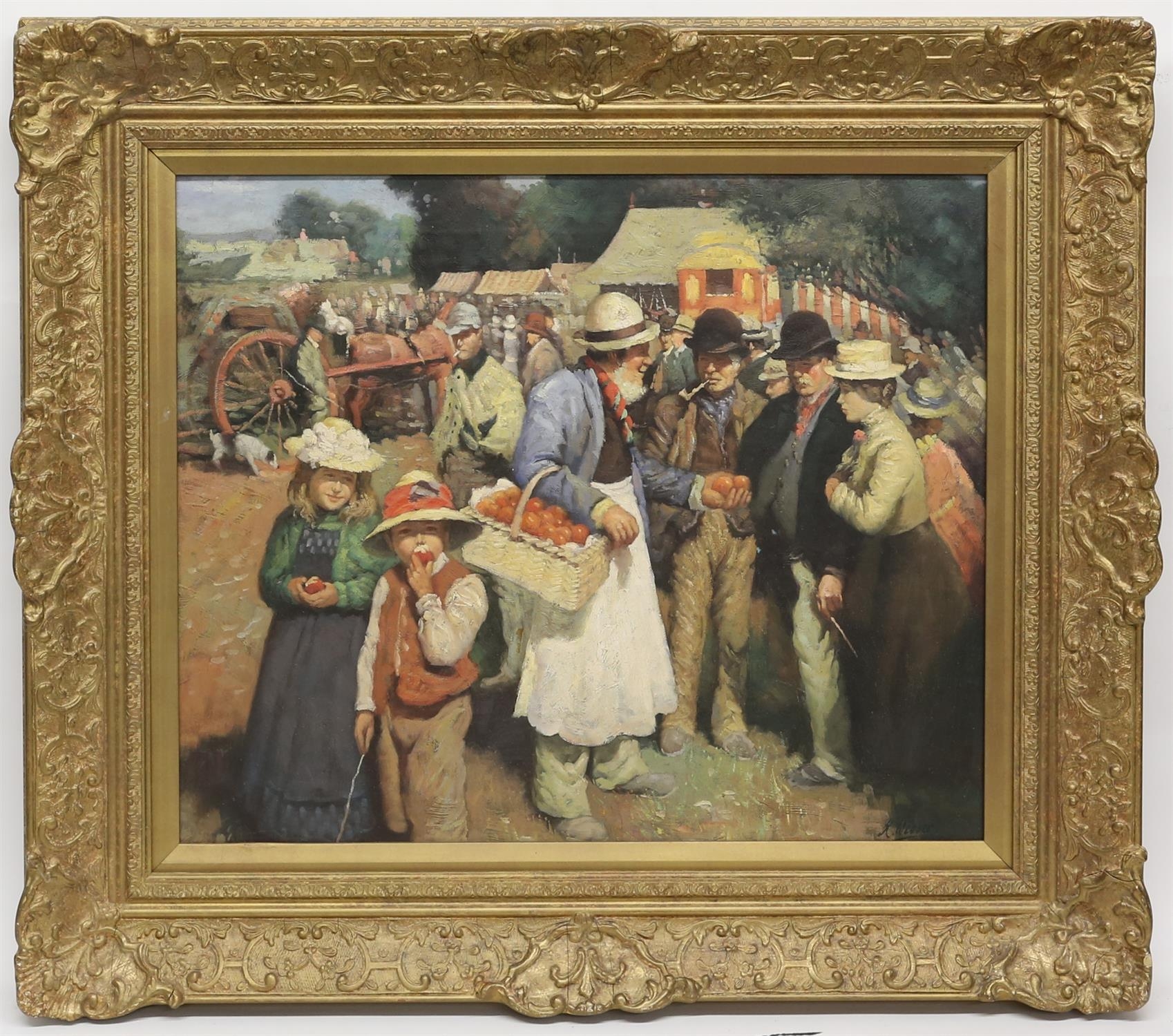 Contemporary oil on canvas painting of a Victorian fairground scene. Signed indistinctly lower - Image 2 of 4