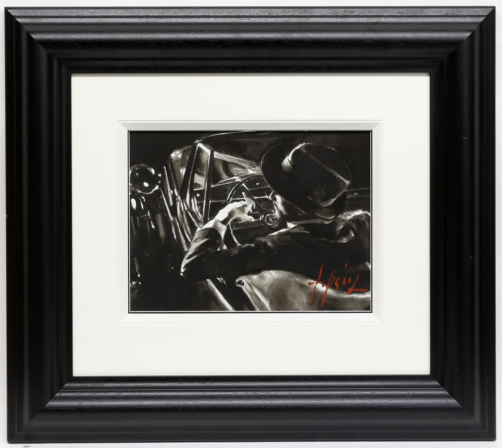 § Fabian Perez (Argentinian b.1967). 'Black and Classic' ink on paper, signed, 40 x 30cm. - Image 2 of 3