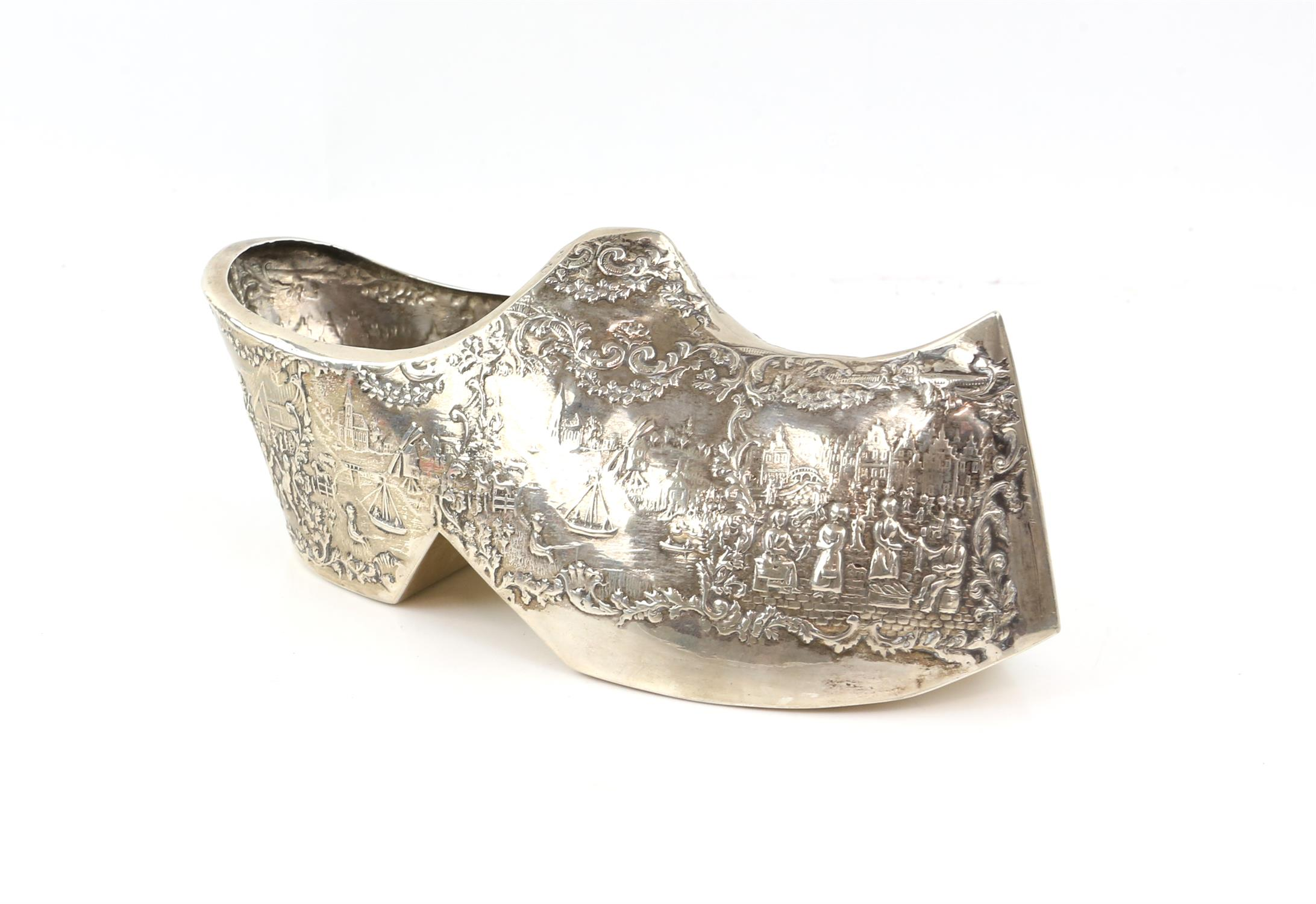 Large Dutch silver novelty model of a Clog embossed with Dutch scenes. marked for 835, 6. - Image 3 of 5