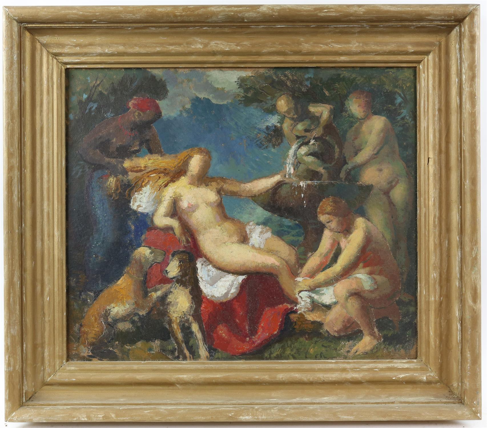 § Lionel Ellis (1903-1988), 'Diana's Bath'. Oil on board, unsigned, titled verso. 49 x 57cm. - Image 2 of 3