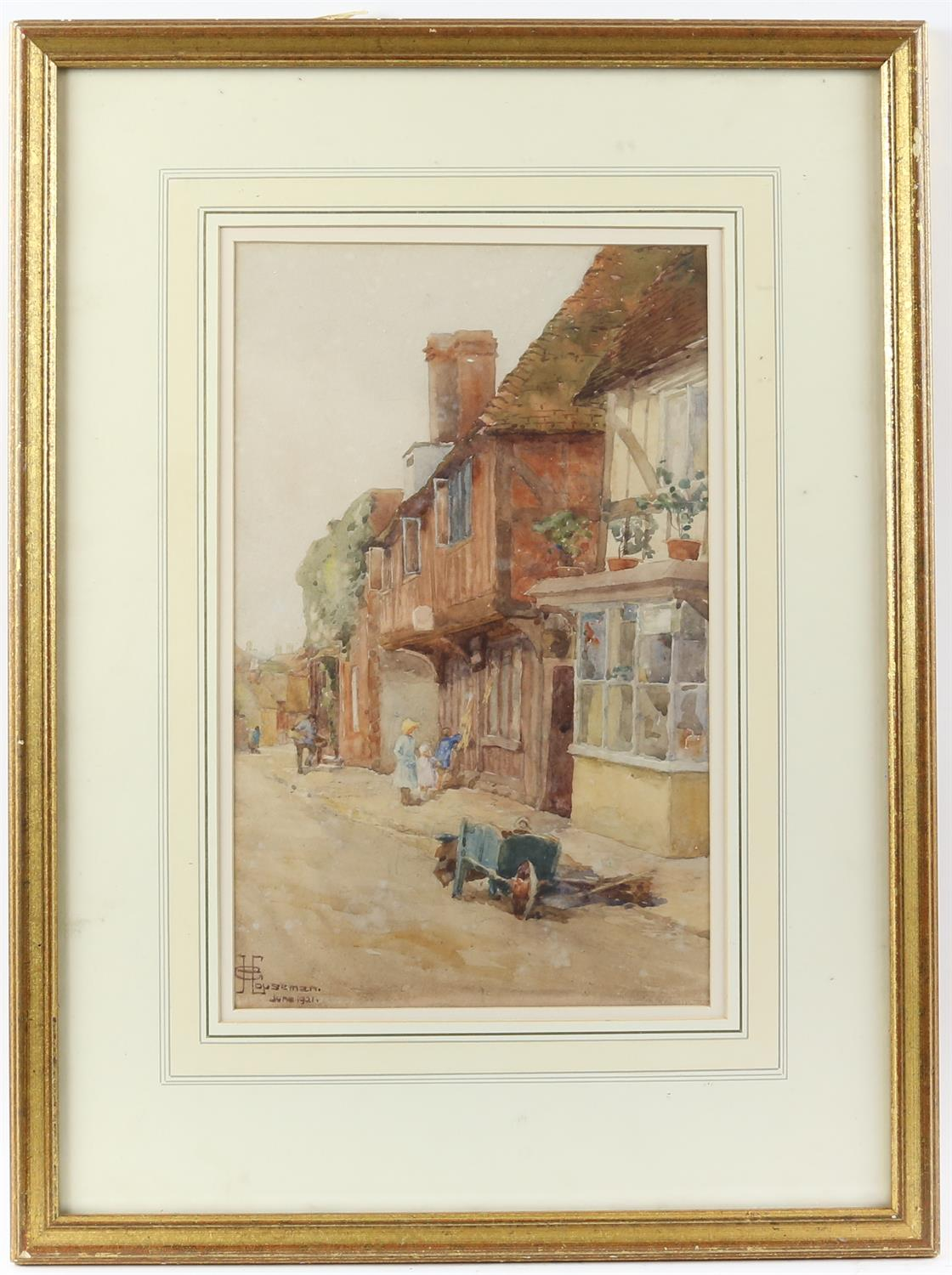 G. Houseman, 20th century, street scene with figures and barrow, signed and dated June 1921, - Image 2 of 4