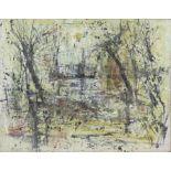 Peter Noel Perkins, abstract landscape. Oil on board. Signed lower left. Framed. Image size 33 x