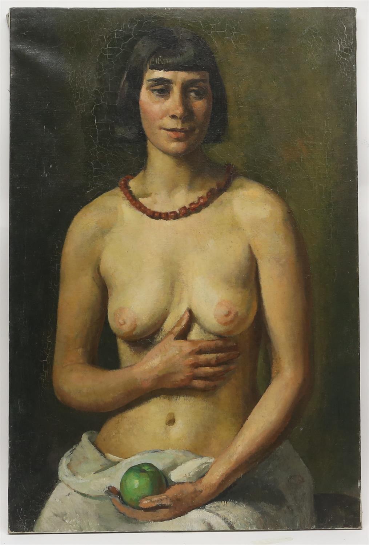 § Lionel Ellis.(1903-1988), Portrait of a Nude with an apple. Oil. 91 x 61cm. Lionel Ellis ARCA
