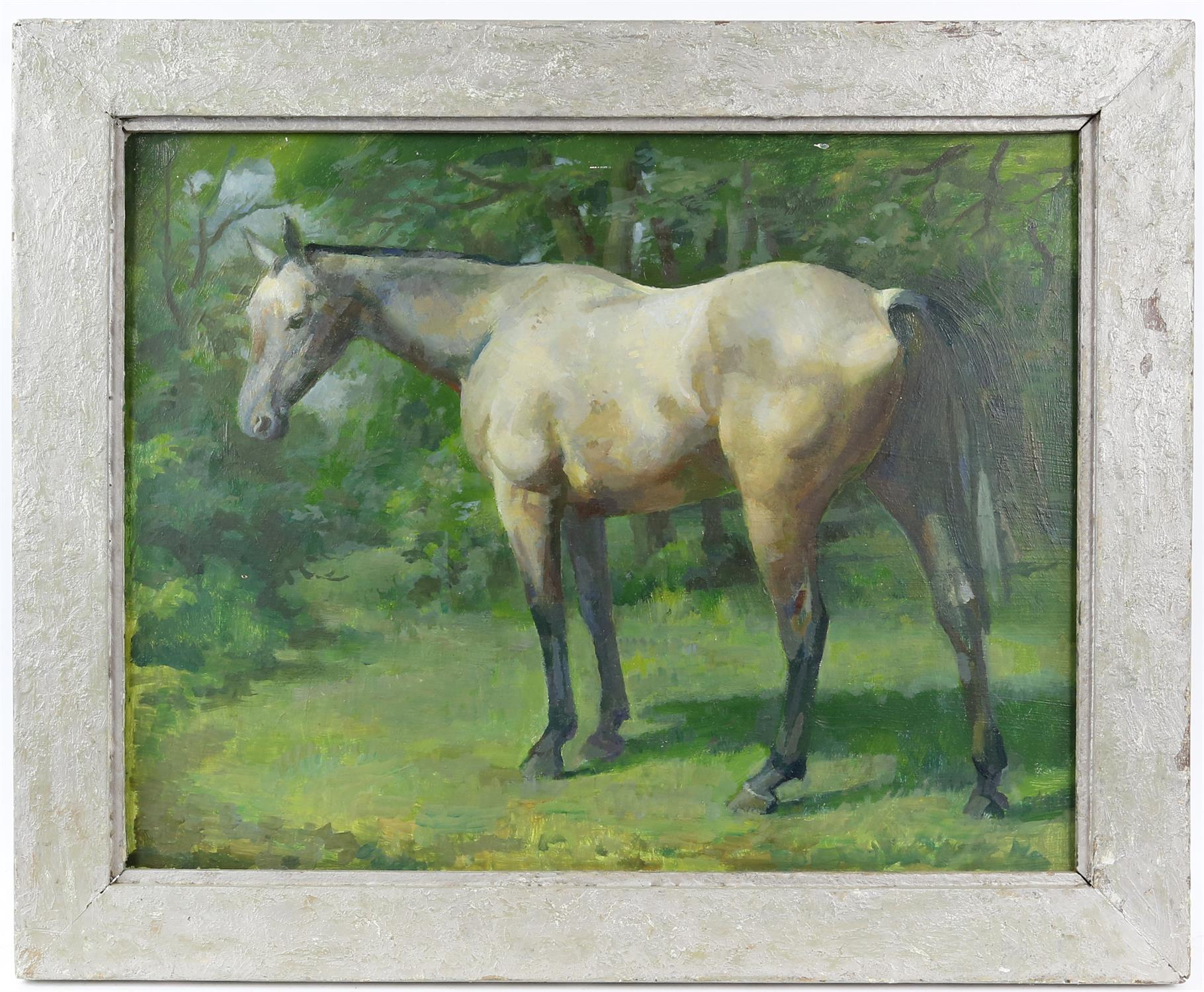 § Lionel Ellis (1903-1988). Grey Horse in Woodland. Oil on panel, unsigned. 45 x 55cm. - Image 2 of 3