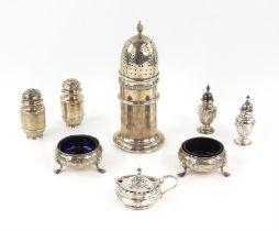 Silver sugar sifter by Henry Clifford Davis, Birmingham 1946, pair of George II cauldron salts on