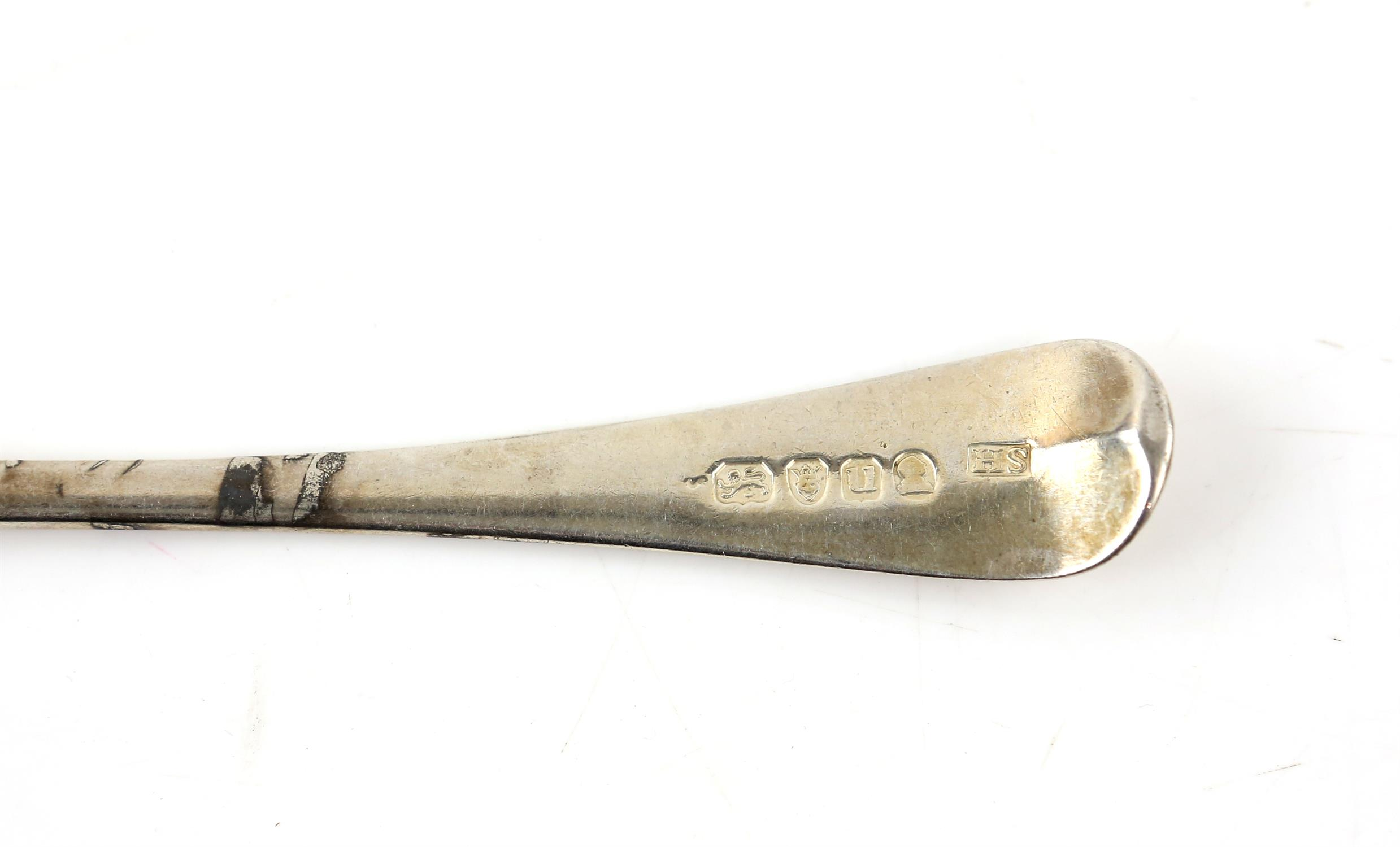 Set of 8 George III old English pattern dessert forks London 1795 Makers Mark HS, 10 ozs - Image 3 of 4