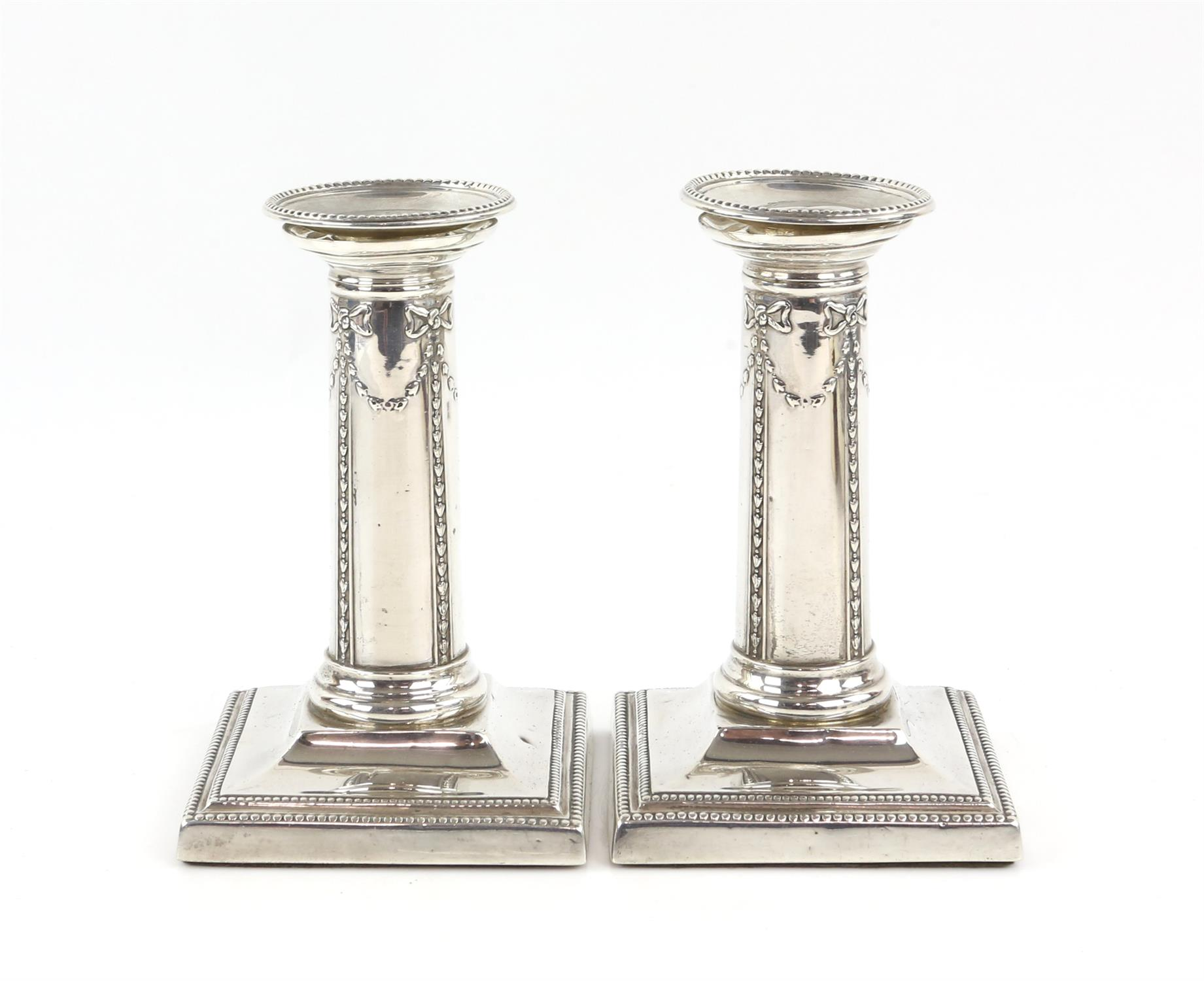 Pair of Victorian silver candlesticks with ribbon and swag decoration by Thomas Bradbury & Sons - Image 2 of 10