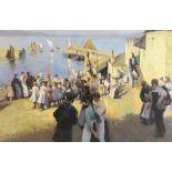 L. Vernon (twentieth century), Victorian-era harbour scene. Oil on board. Signed 'L.