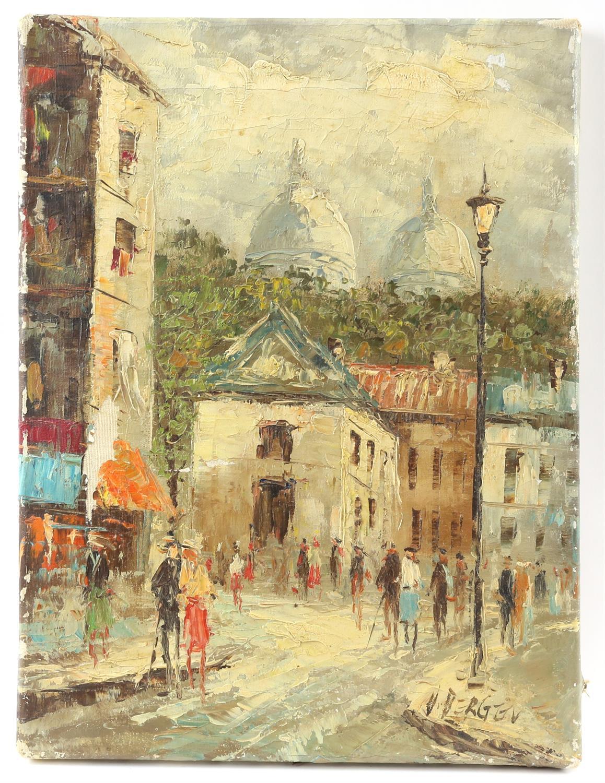 V. Bergen (20th century Continental school), pair of small Parisian street scene, oil on canvas, - Image 3 of 7