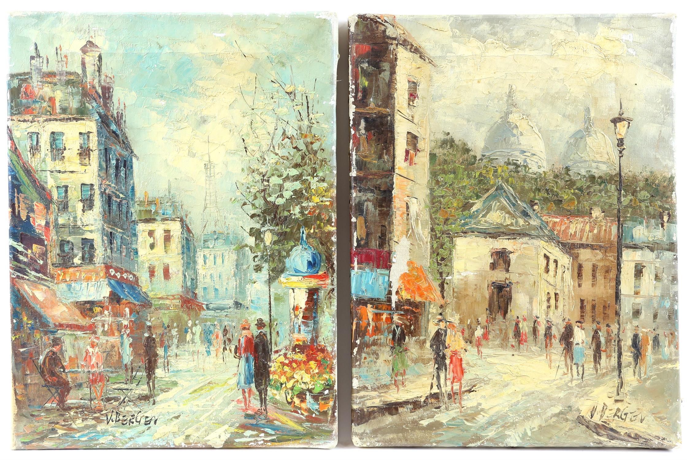 V. Bergen (20th century Continental school), pair of small Parisian street scene, oil on canvas,