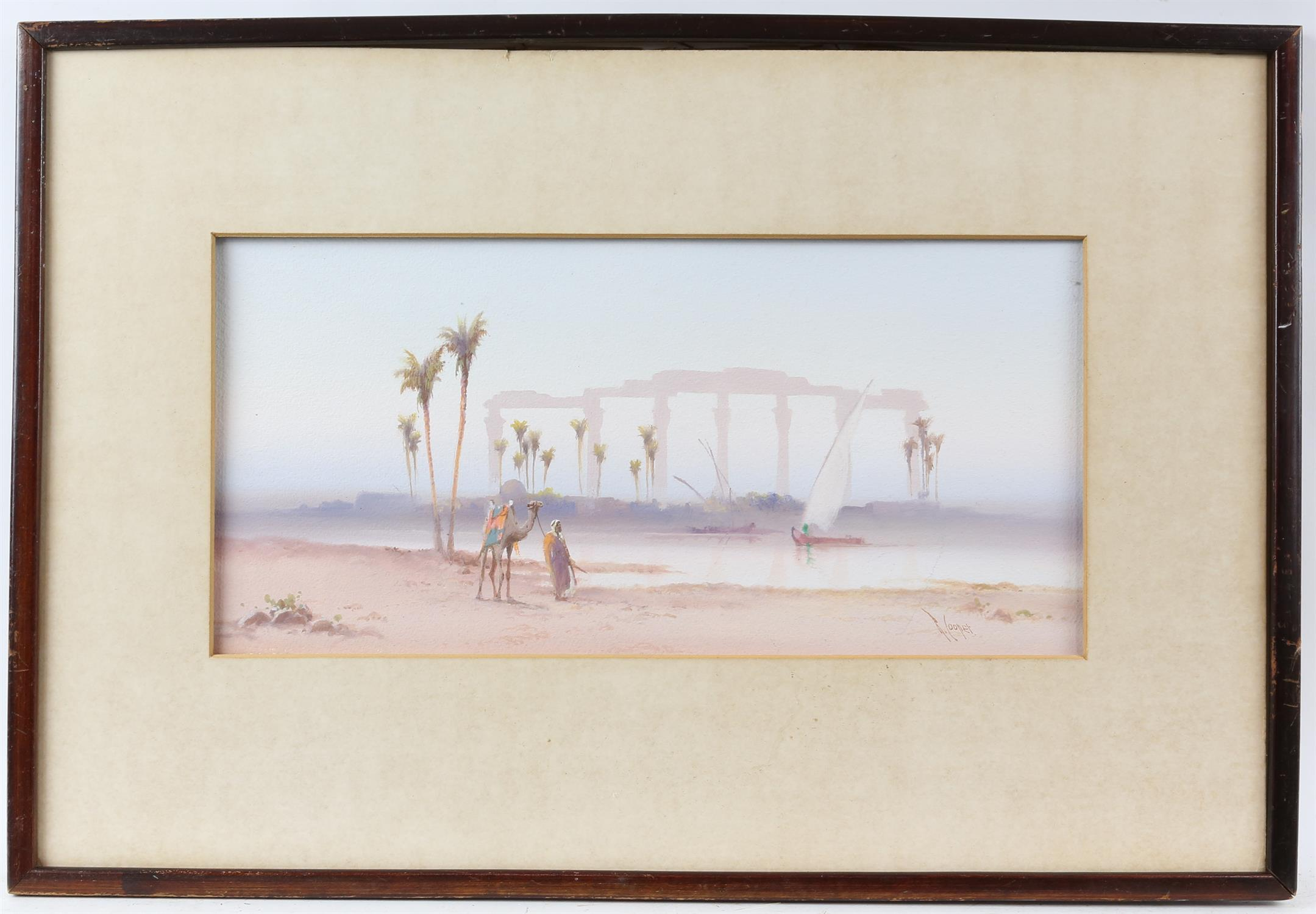 REVISED ESTIMATE Reginald Cooper, (early 20th century), Egyptian scene with a man with a camel and - Image 2 of 4