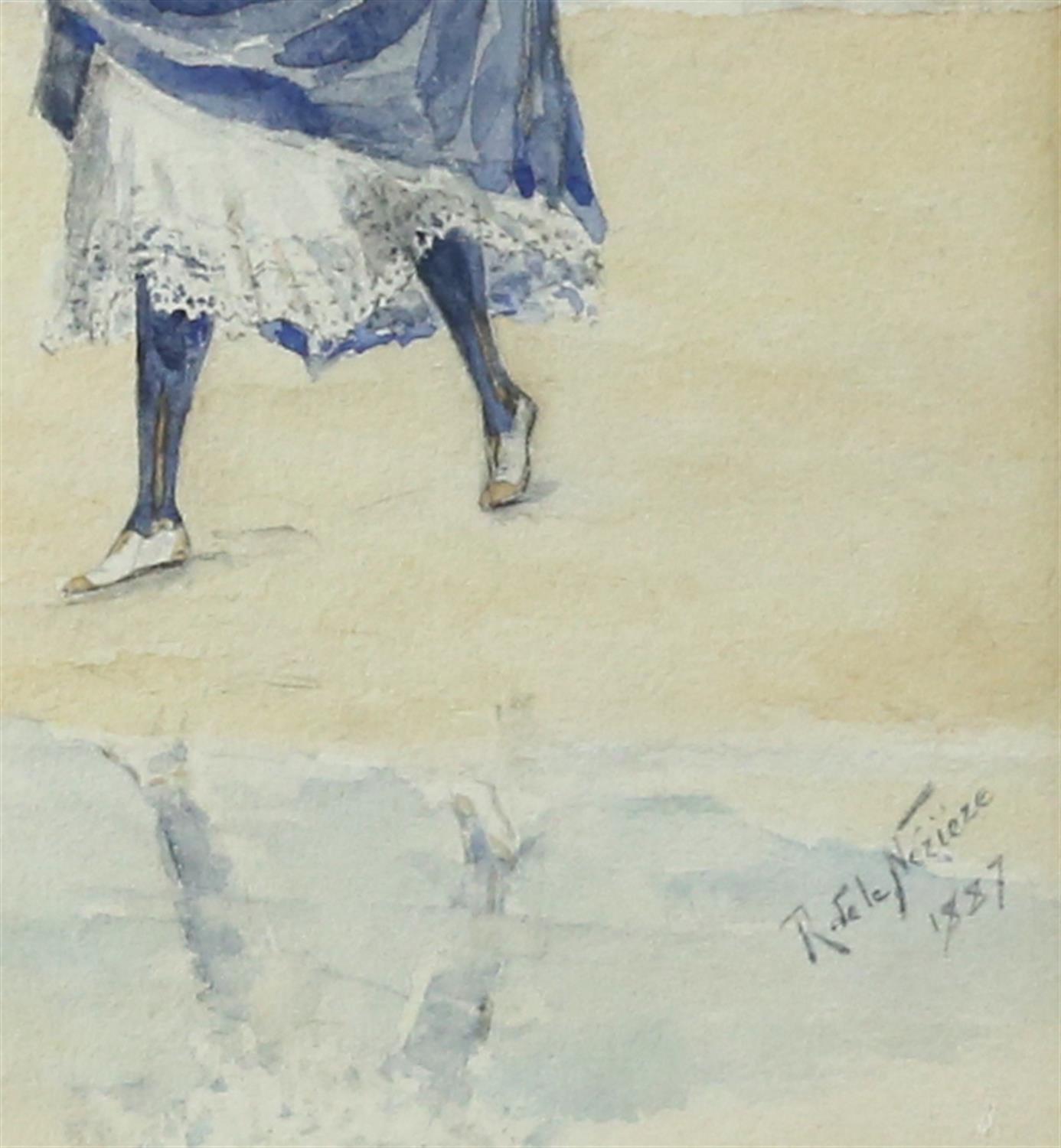 Raymond de la Neziere, French 1865-1953, lady in a long dress on a beach, signed and dated 1887, - Image 3 of 3