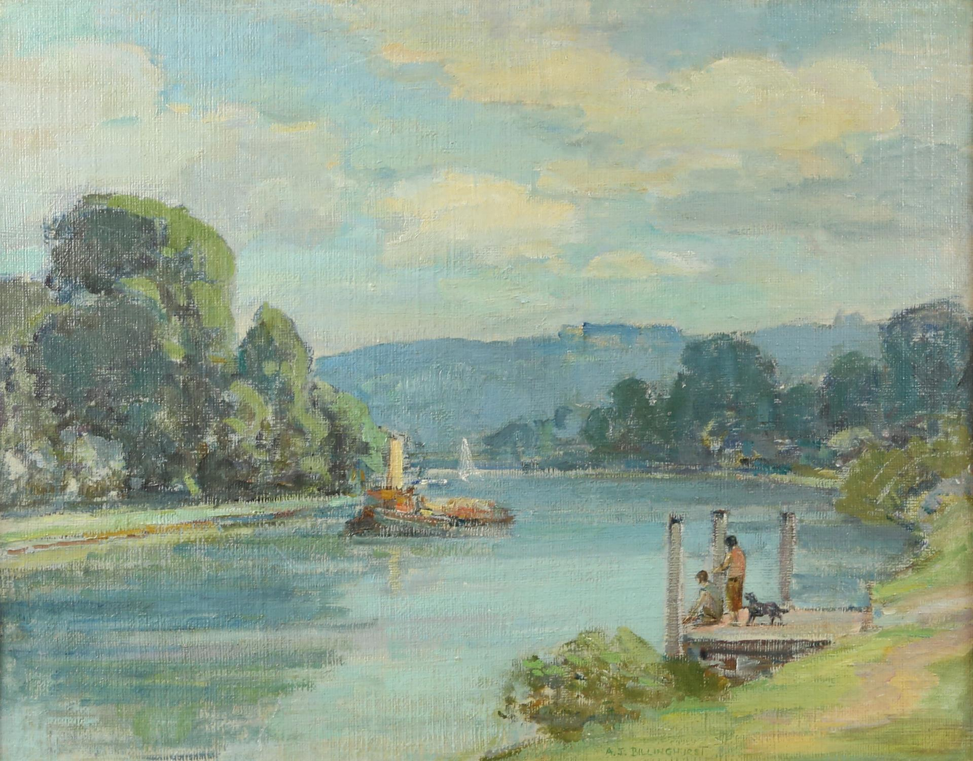 A J Billinghurst (British 1880-1963), river scene with steam barge and figures on a pontoon with a