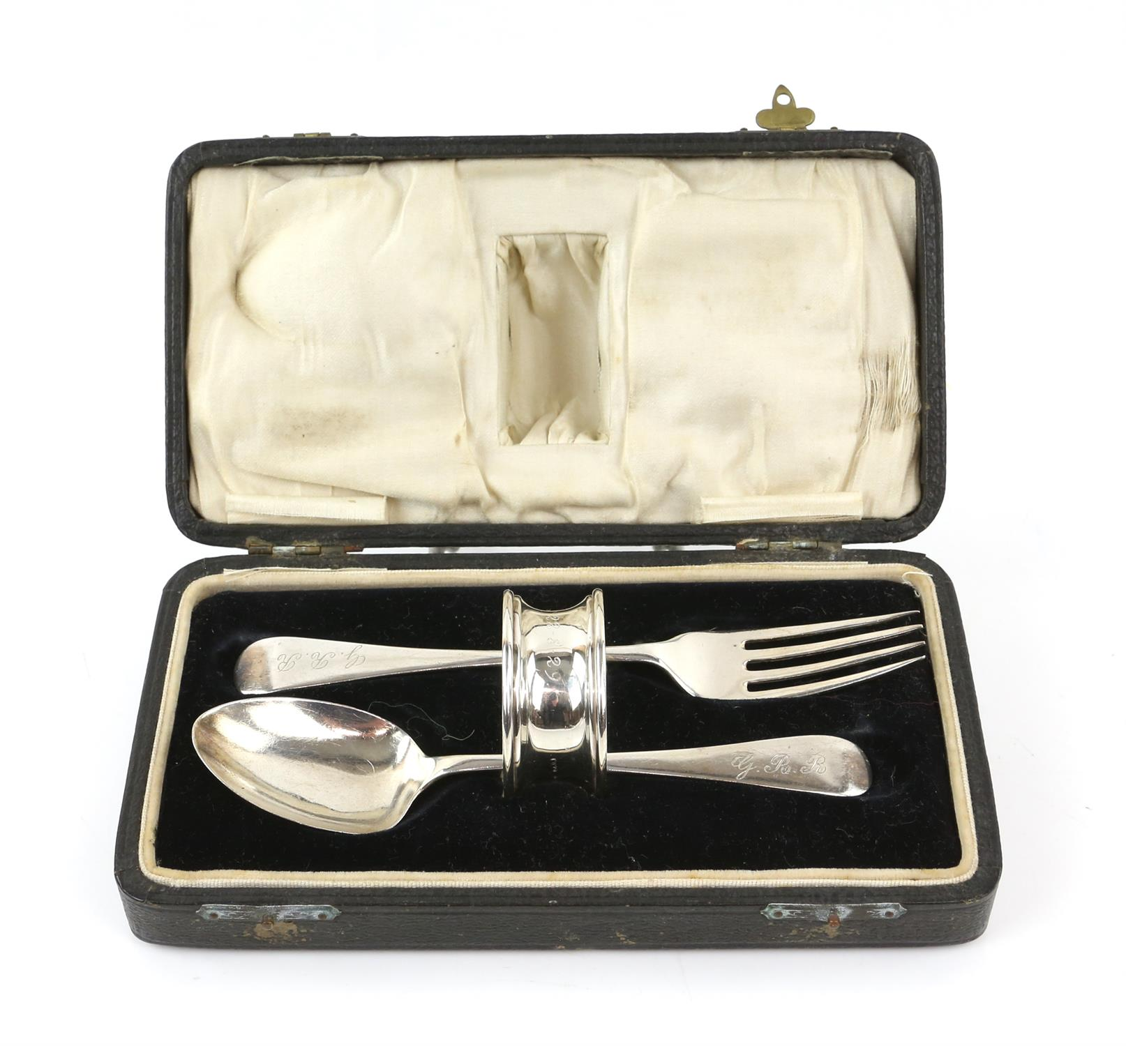 George V three piece silver christening set comprising: fork, spoon and napkin ring, cased,