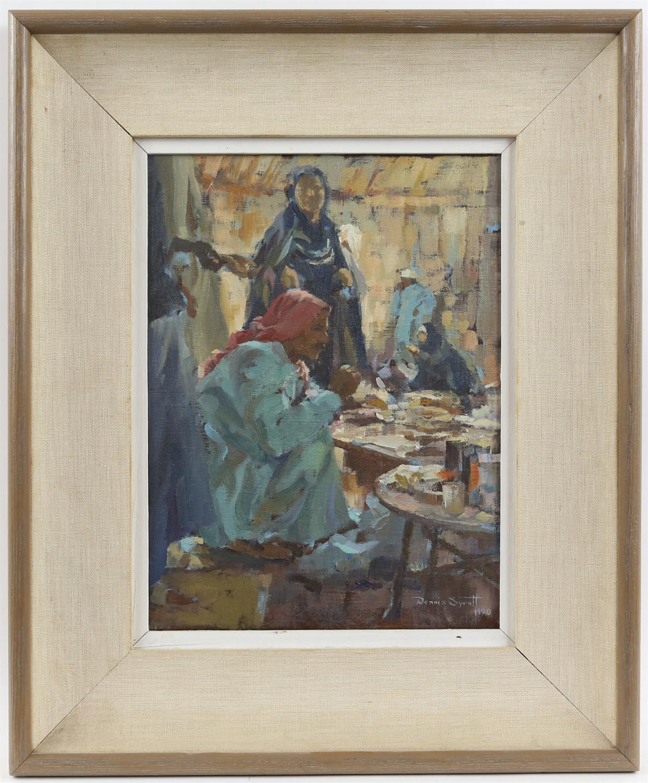 § Dennis Syrett (British Contemporary, b. 1934), North African street scene (1990). Oil on canvas. - Image 2 of 3