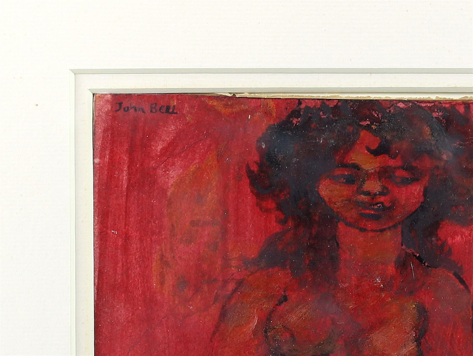 John Bell, nude study. Watercolour and ink on paper. Signed top left. Framed and glazed. - Image 3 of 3
