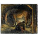 § Lionel Ellis (1903-1988), Man and Horse in Candlelit Stable. Oil on board, unsigned. 37 x 45cm.