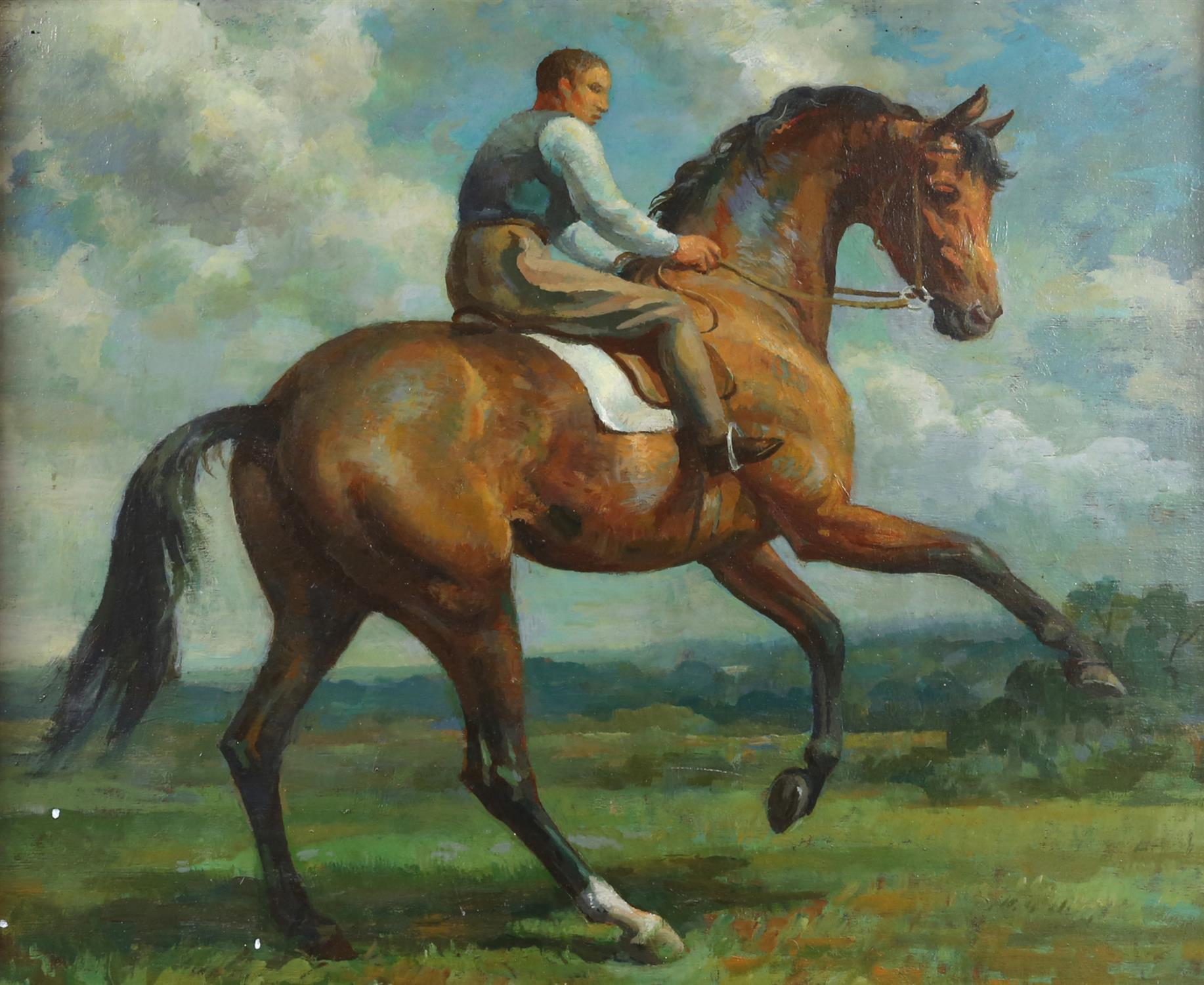 § Lionel Ellis (1903-1988) Rider on a Spirited Horse. Oil on board, indistinctly signed lower right