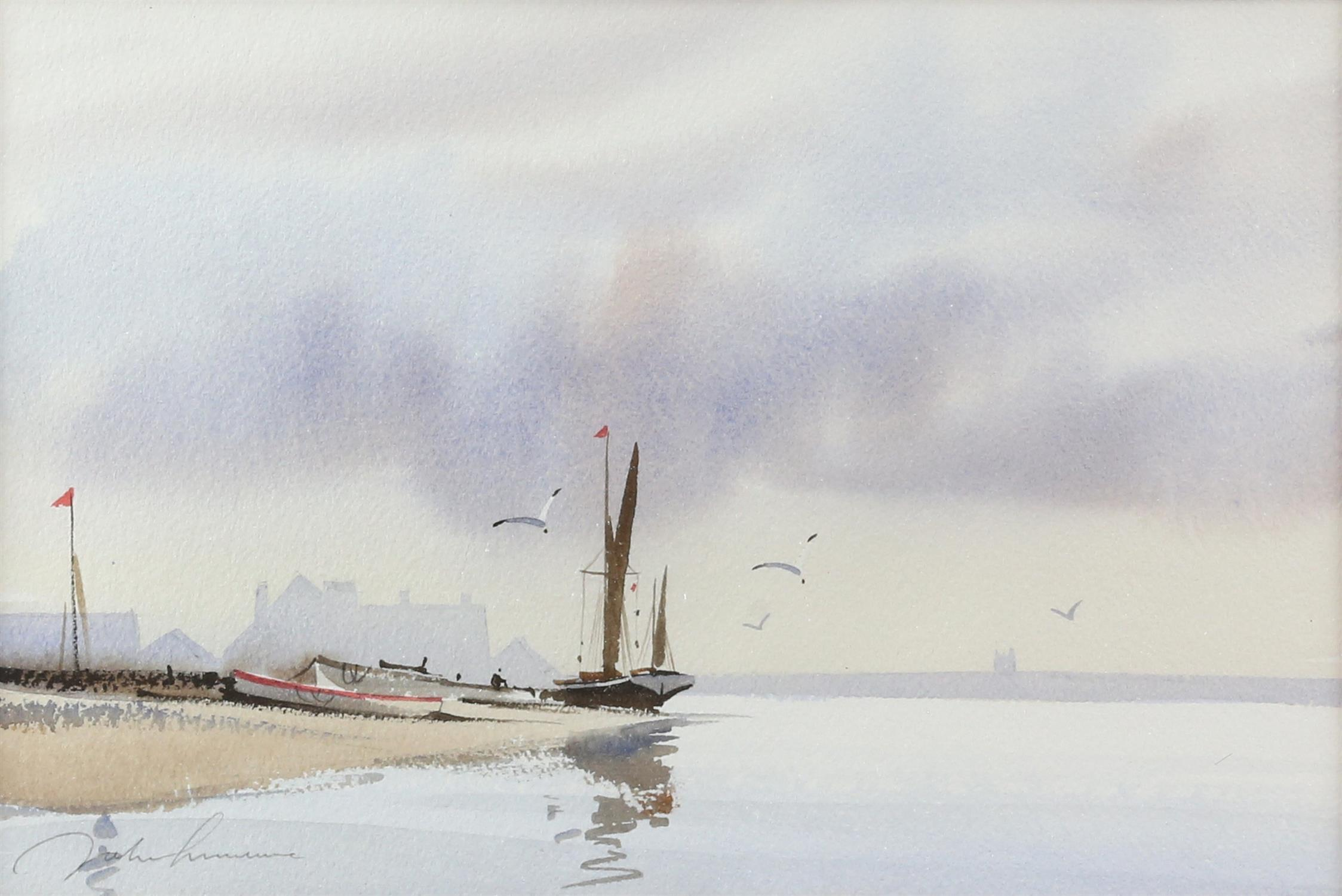 Three contemporary maritime watercolours, yachts at sea, signed indistinctly lower left. - Image 2 of 8
