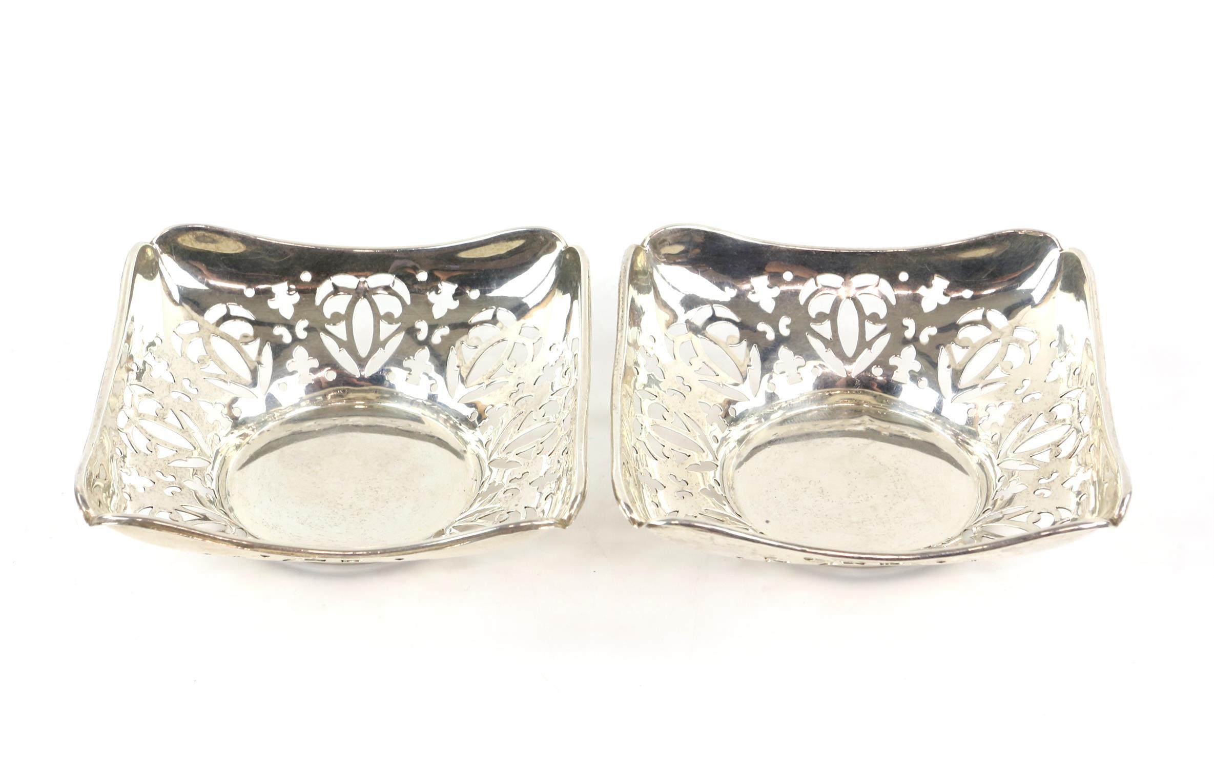 Pair of pierced square form silver Bon Bon dishes by Deaken and Francis, Birmingham 1910
