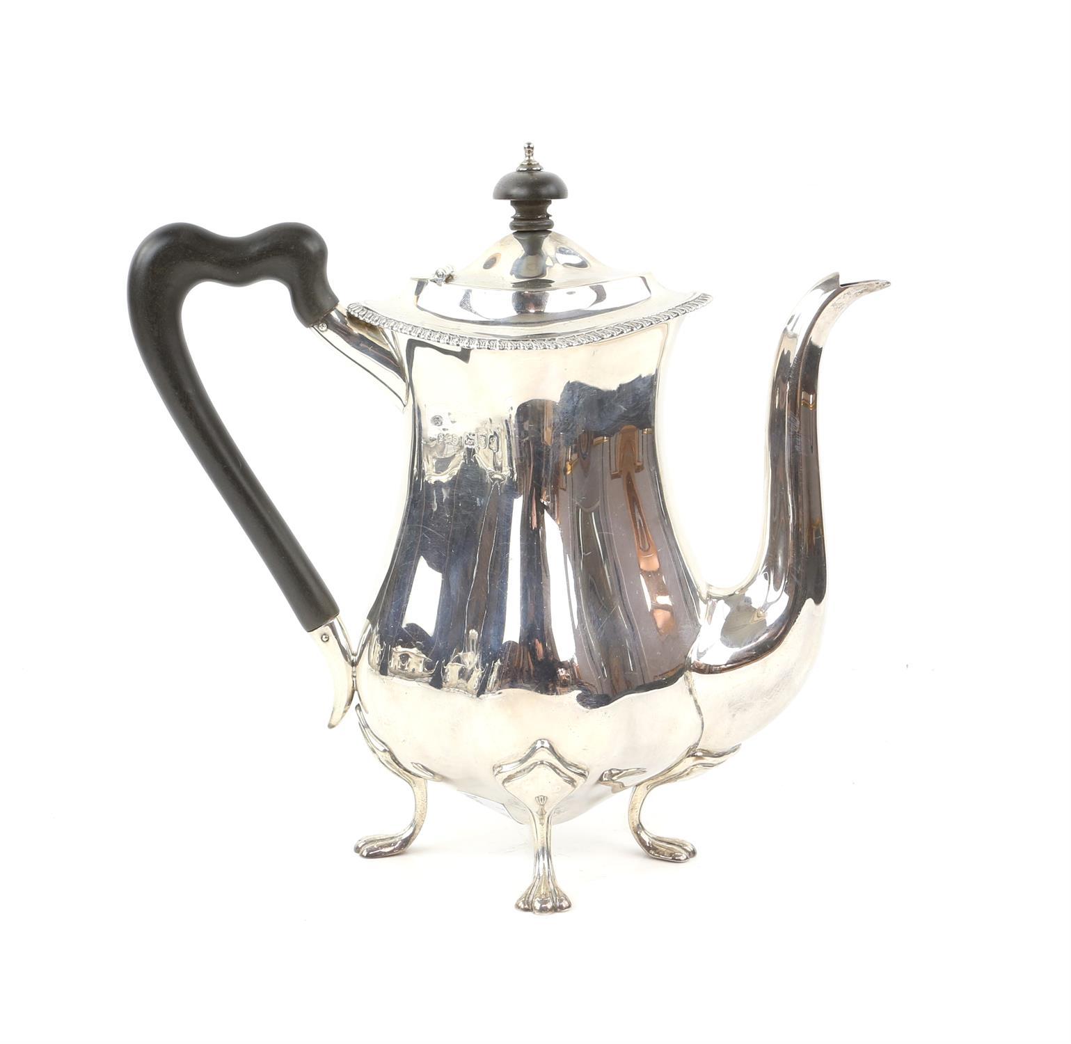 Four piece silver tea and coffee service of fluted diamond shape comprising Coffee Pot, Tea Pot, - Image 4 of 10