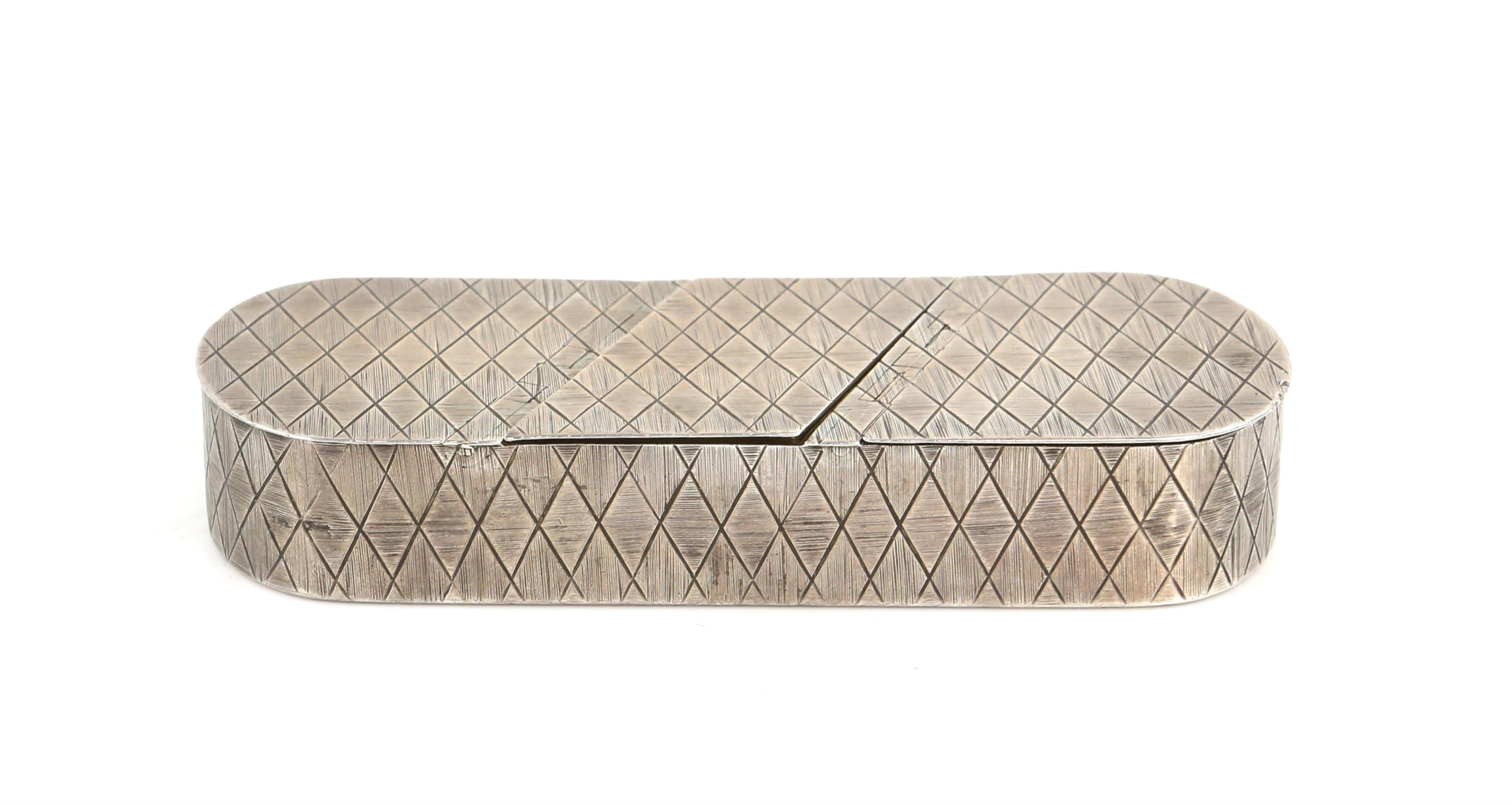 George III silver triple oval snuff box by Thomas Phipps & Edward Robinson, with diamond patterned