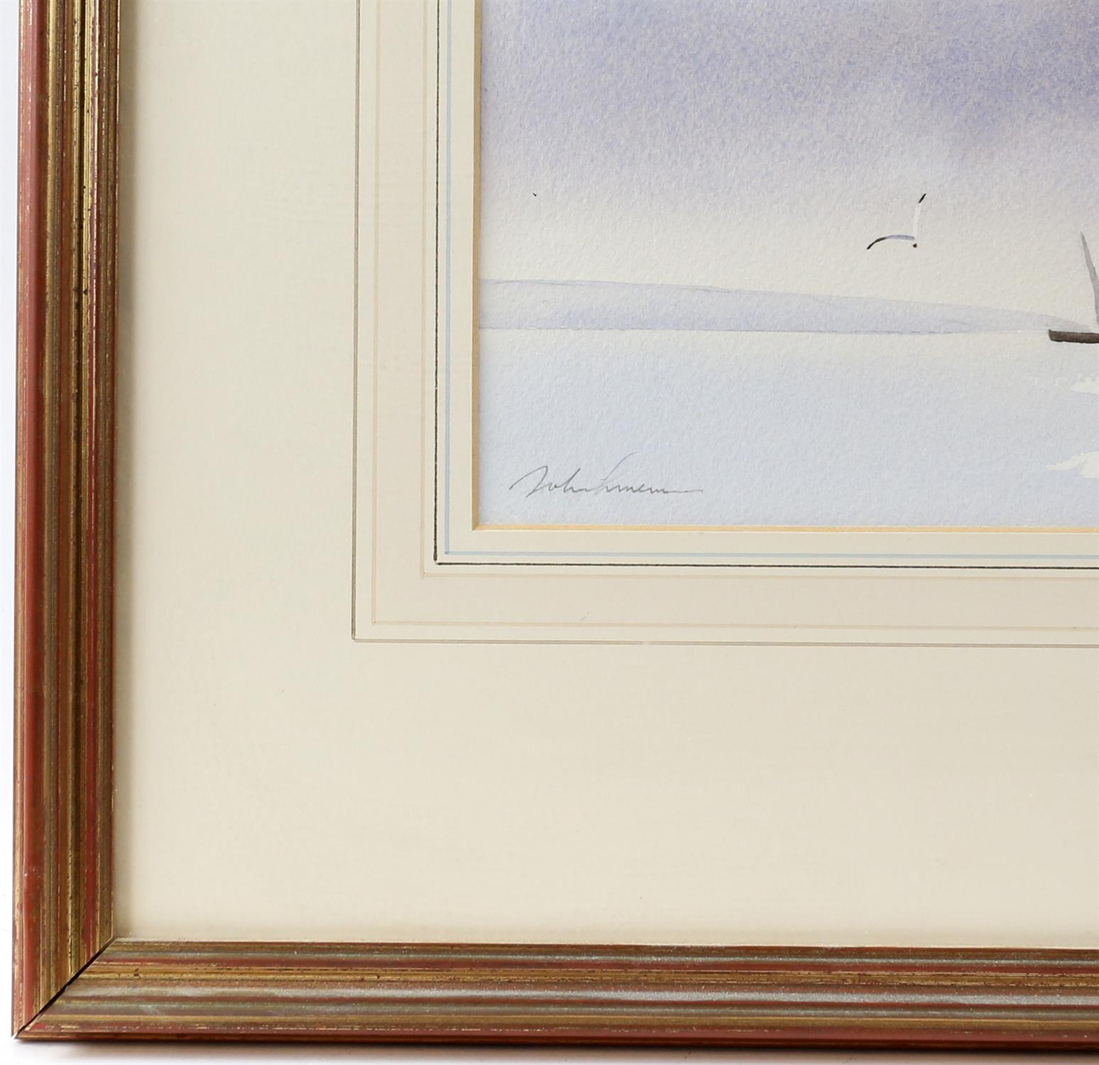 Three contemporary maritime watercolours, yachts at sea, signed indistinctly lower left. - Image 7 of 8