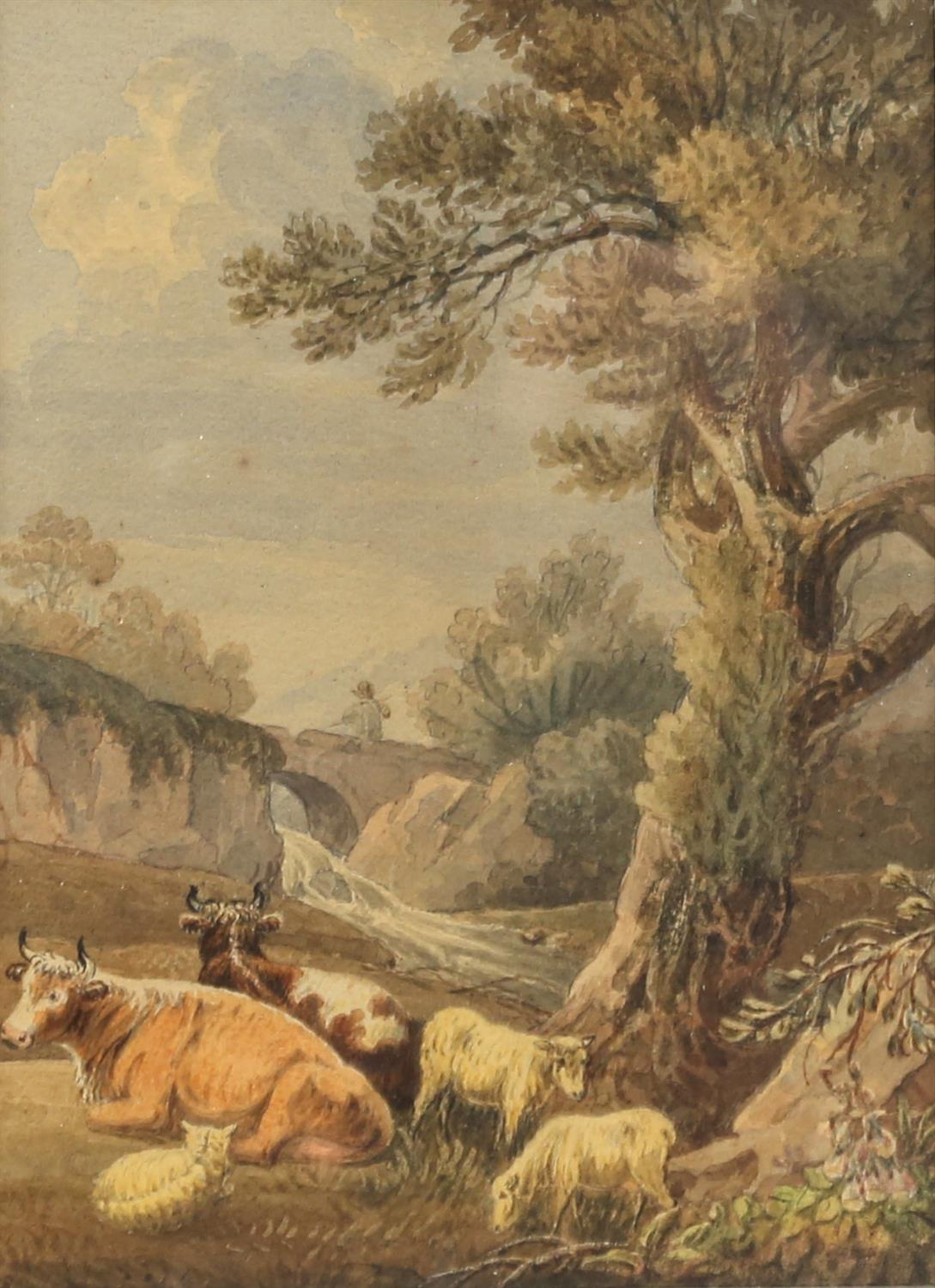 Nineteenth-century English school, pastoral landscape with cattle and sheep to foreground.