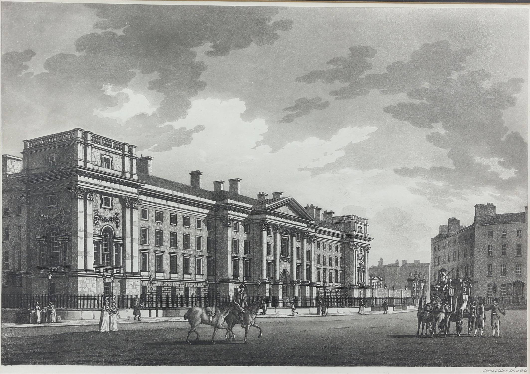 James Malton (c1766-1803). Trinity College, Dublin. Engraving.