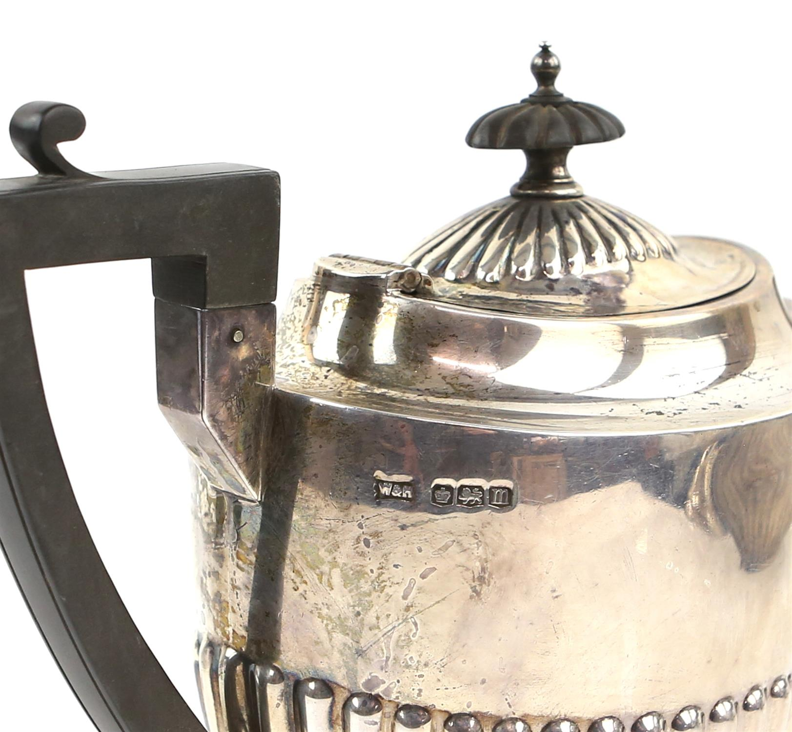 George V half reeded silver four piece tea and coffee service comprising teapot, coffee pot, - Image 7 of 9