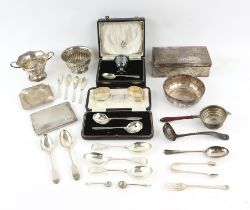 Various small silver items comprising a two handled bowl, cased egg cup and spoon,