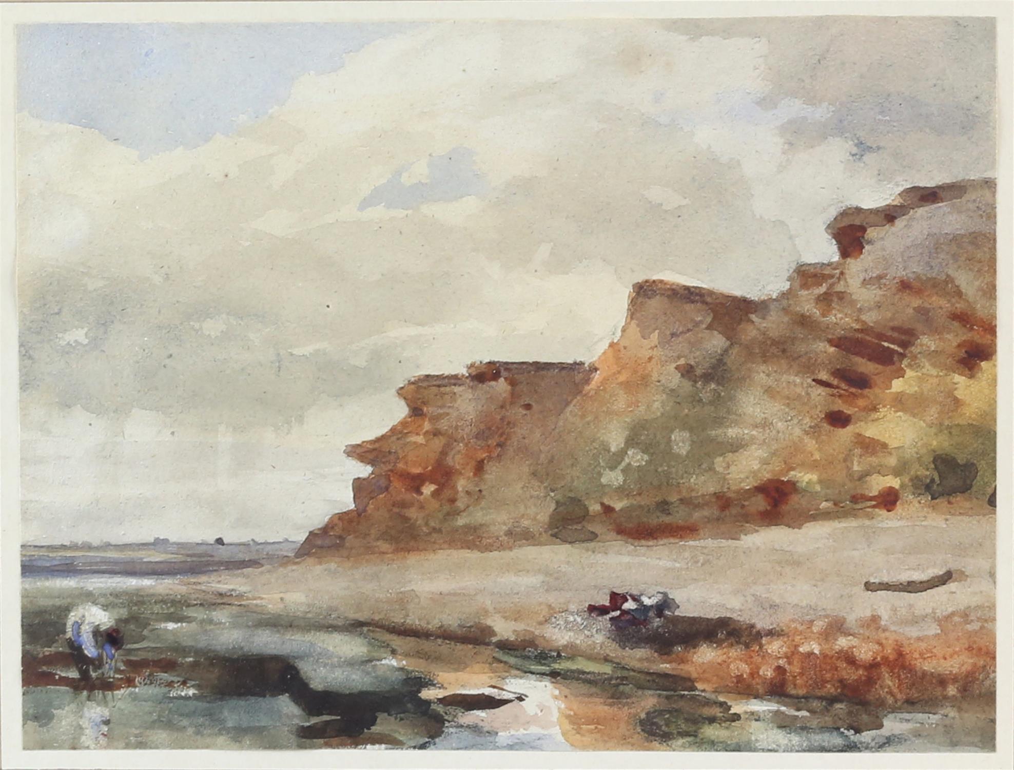 Thomas Churchyard (British, 1798-1865), Bawdsey Cliff, Suffolk. Watercolour. Stanhope Shelton